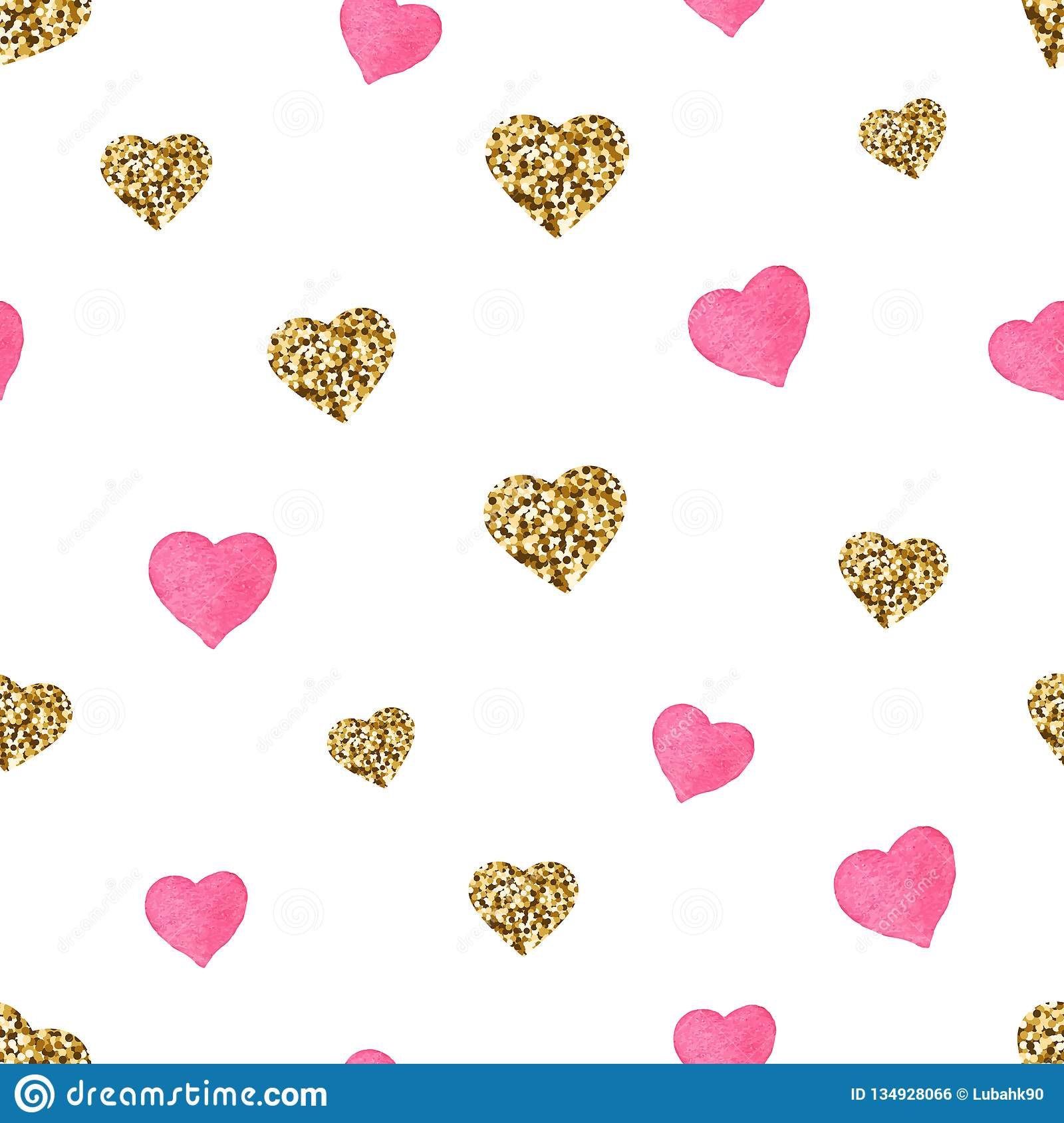 Pink And Gold Glitter Hearts Seamless Pattern Cute Valentines Day Background Golden Hearts With Sparkles And Star Dust Stock Vector Illustration Of Hearts Doodle 134928066