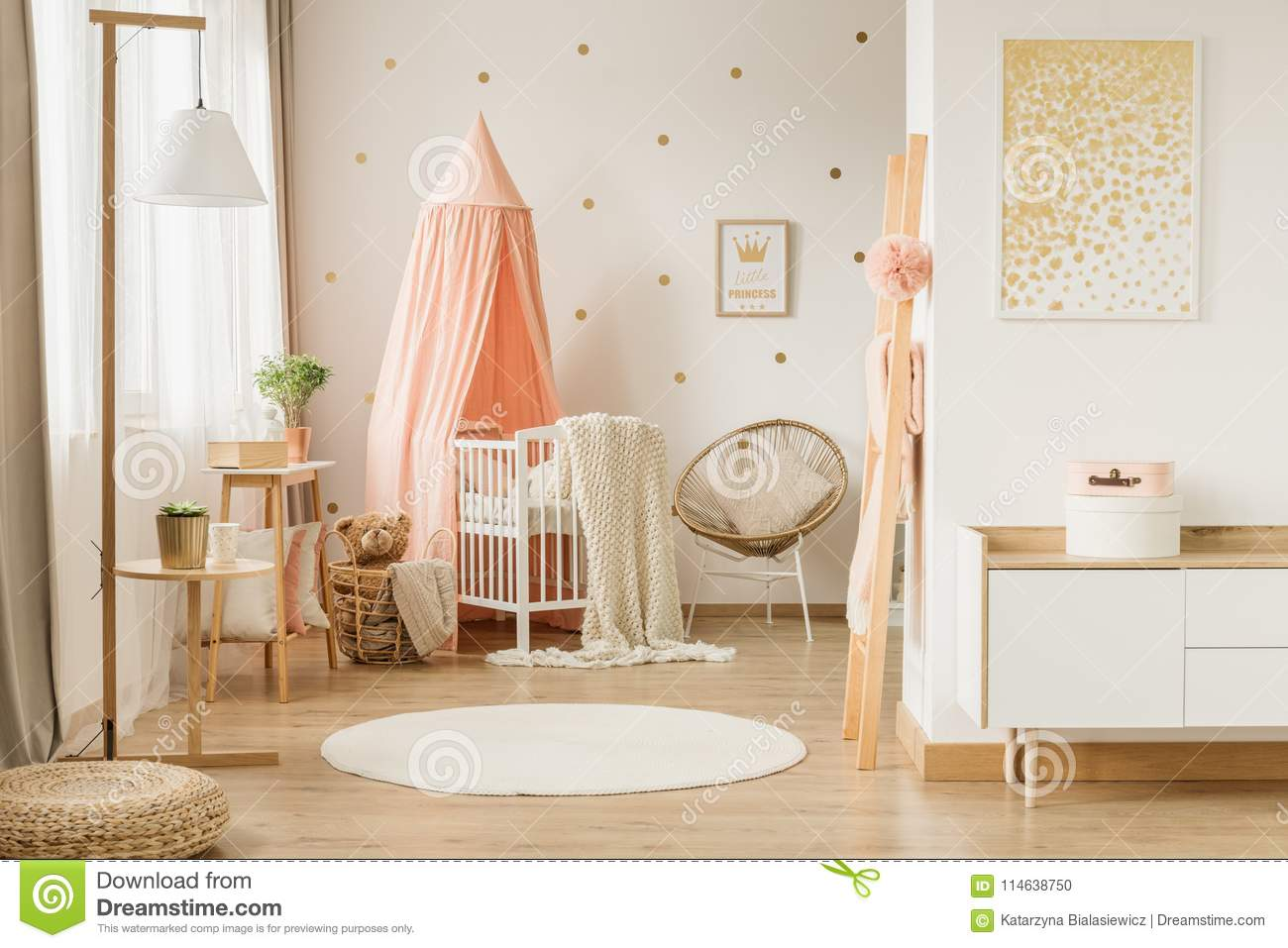 Pink And Gold Kid`s Bedroom Stock Photo - Image of nursery ...
