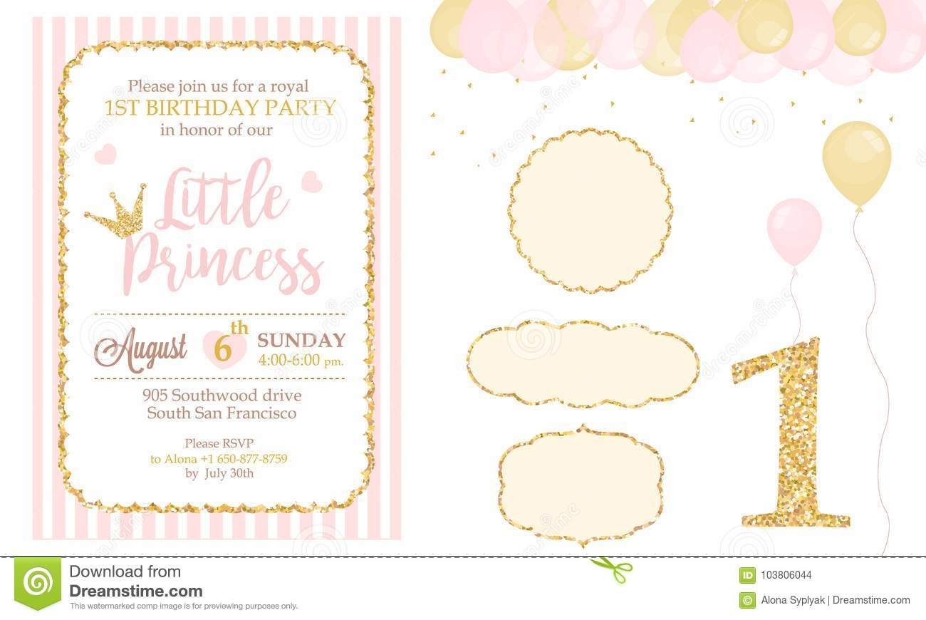 Pink And Gold Princess Party Decor. Cute Happy Birthday Card ...