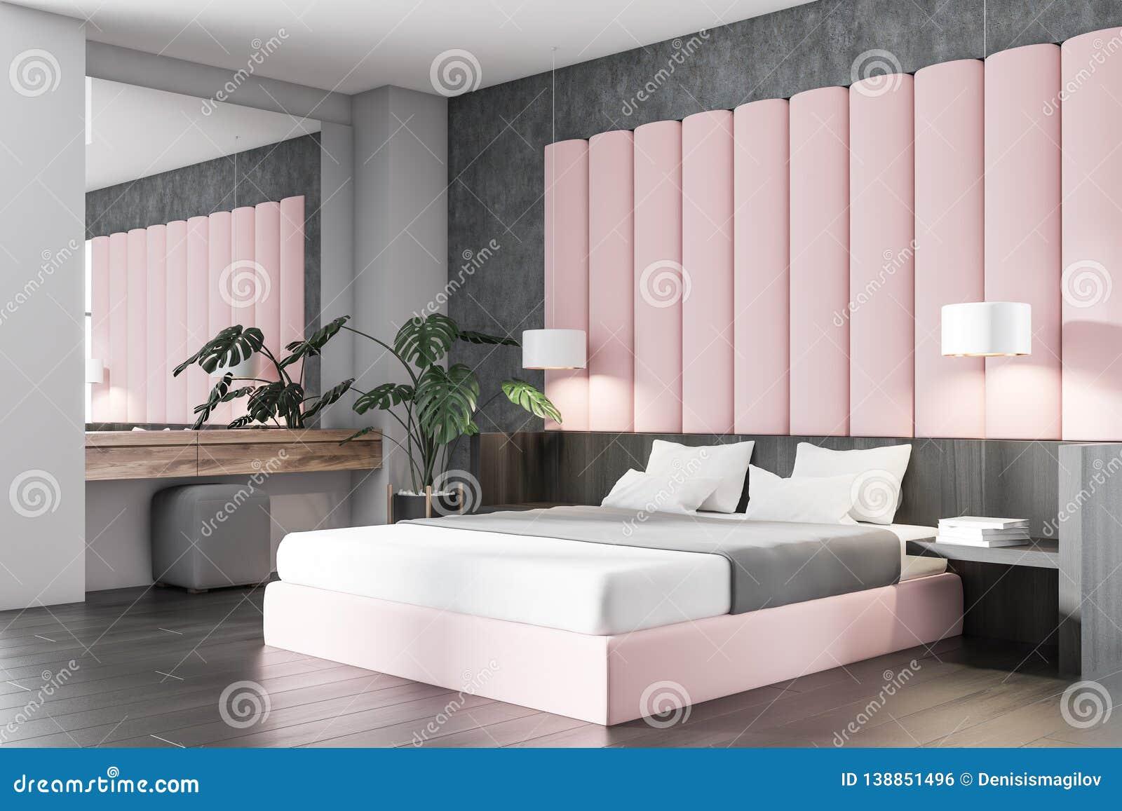 Pink And Gray Bedroom Corner Stock Illustration ...