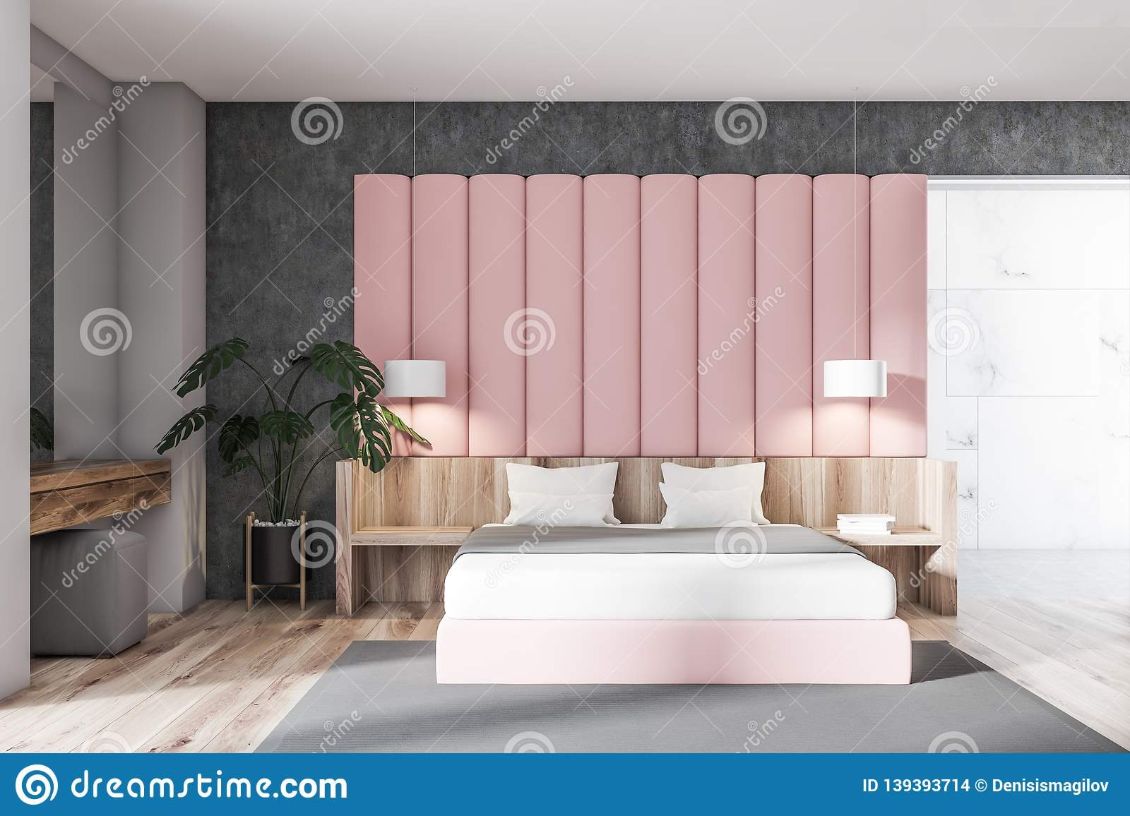 Pink And Gray Bedroom Interior Stock Illustration ...
