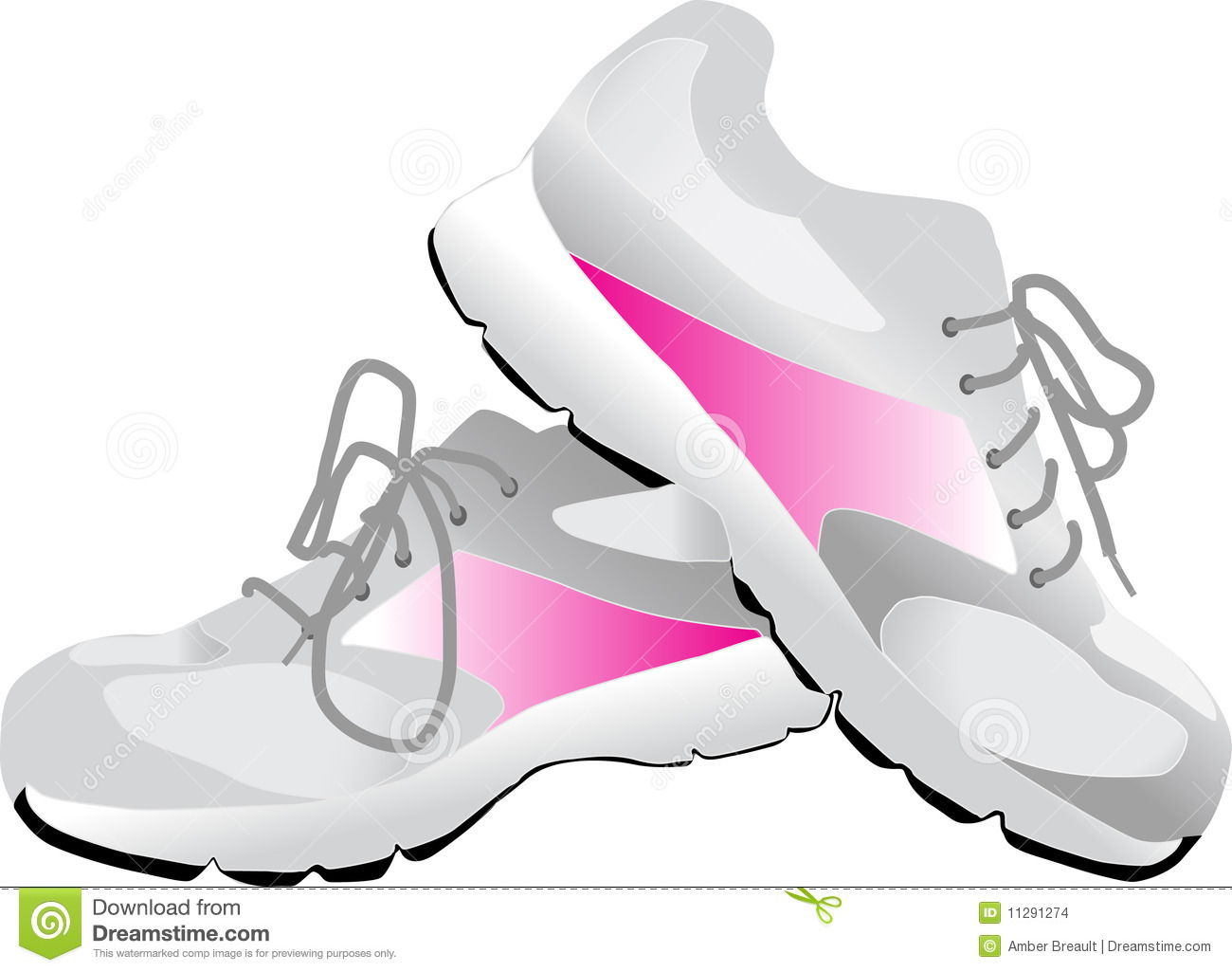 This is an illustration of gray sneakers with pink accents. Perfect ...