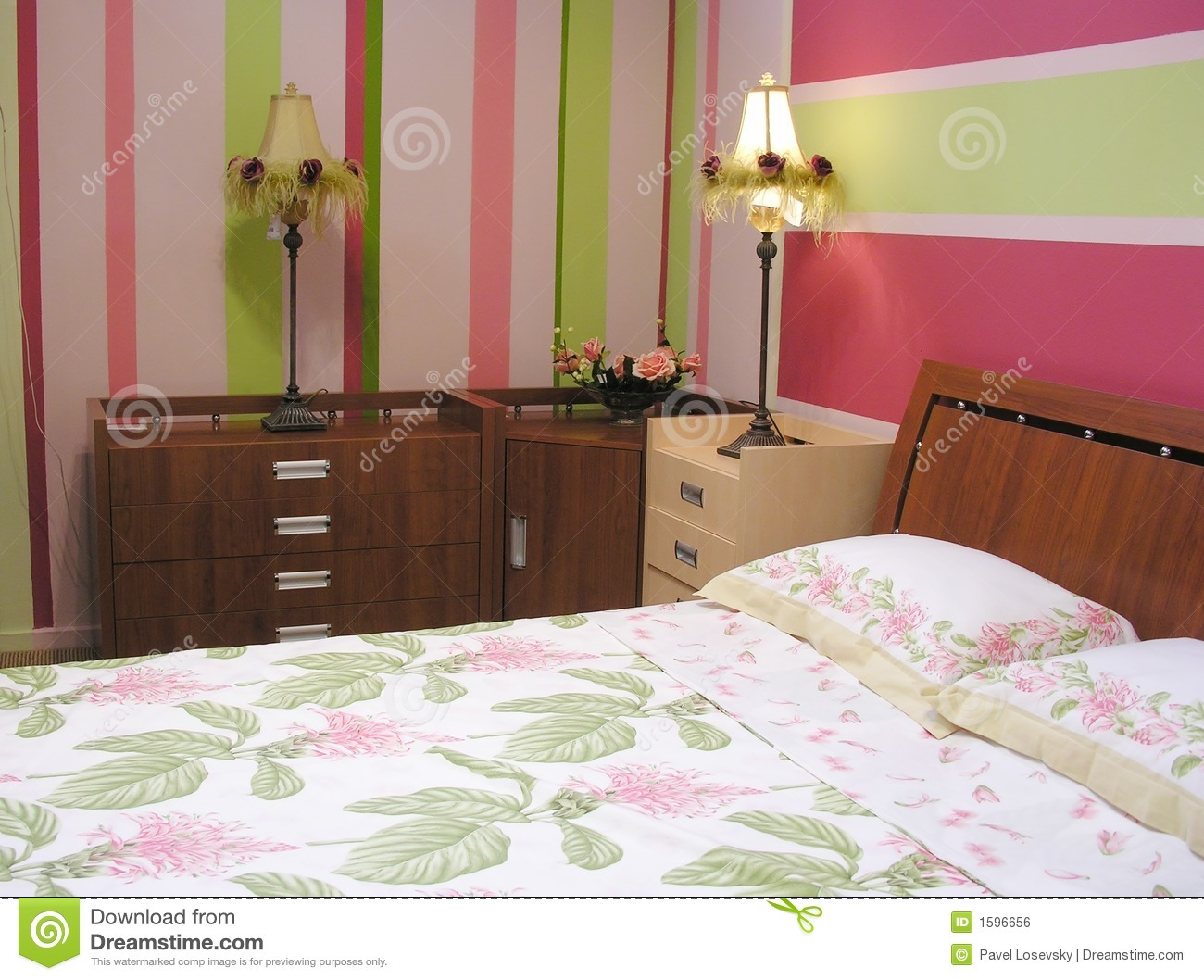 Pink green bedroom. Pink Green Bedroom Royalty Free Stock Image   Image  1596656