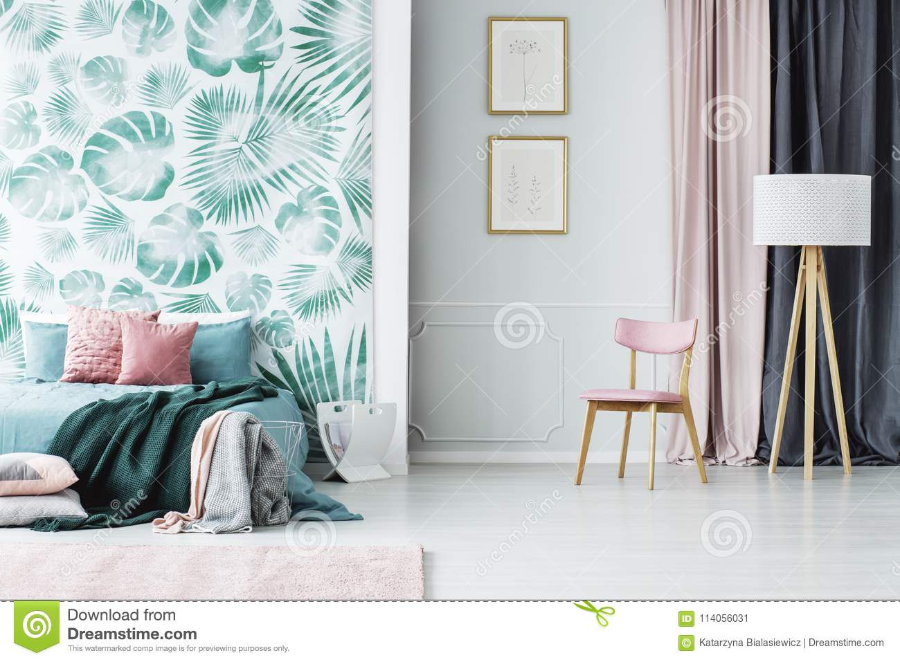 Pink And Green Bedroom Interior Stock Image - Image of bedroom ...