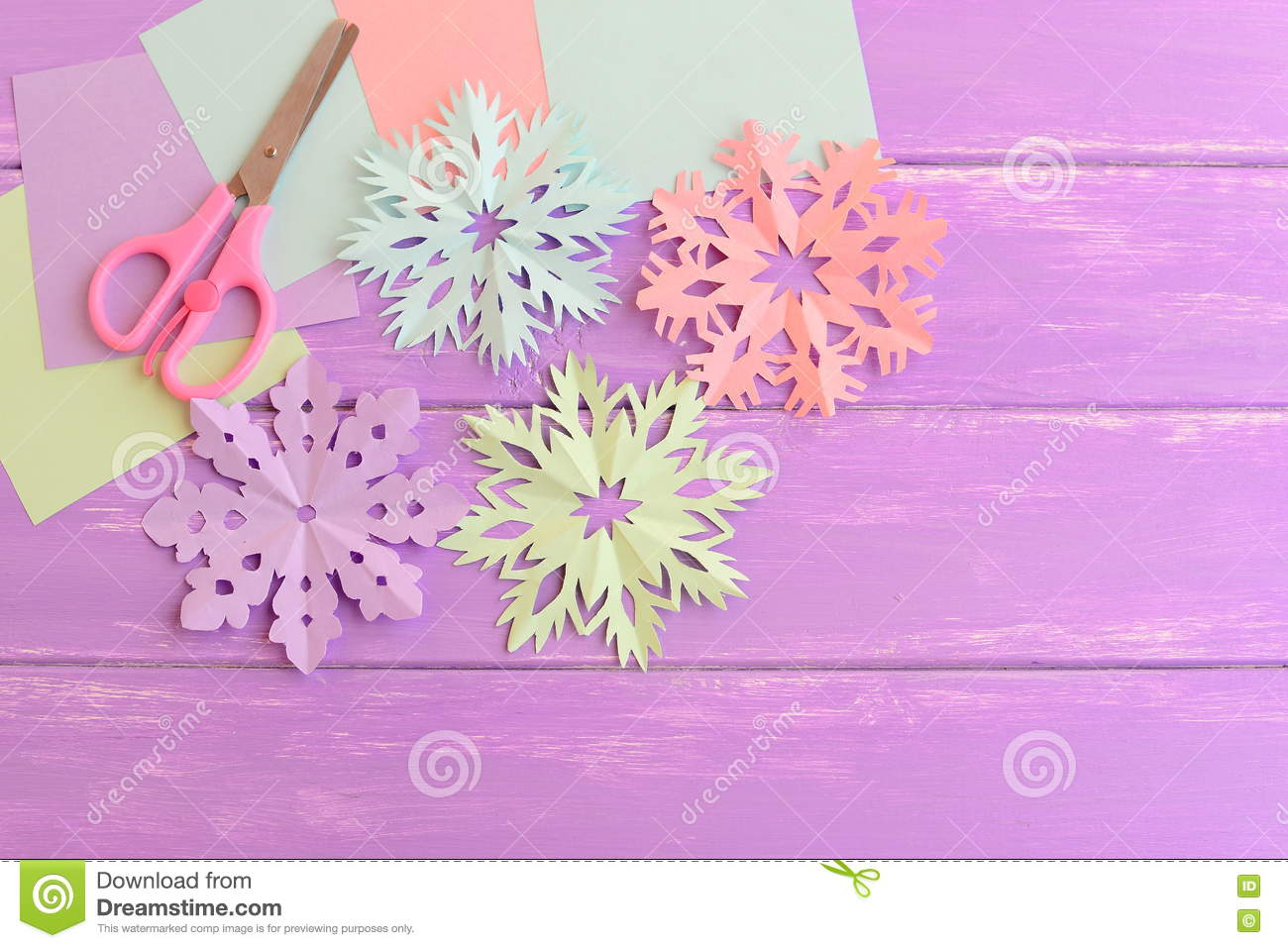 Pink Green Blue And Purple Paper Snowflakes Colored Paper Sheets