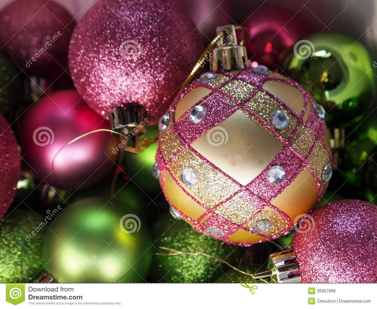 Pink And Green Christmas Ornaments Stock Photo Image Of Round