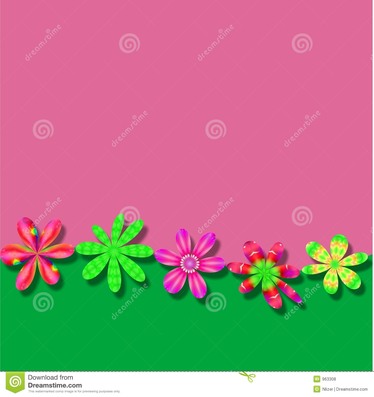 Pink Green Flower Frame Wallpaper Background Stock Illustration