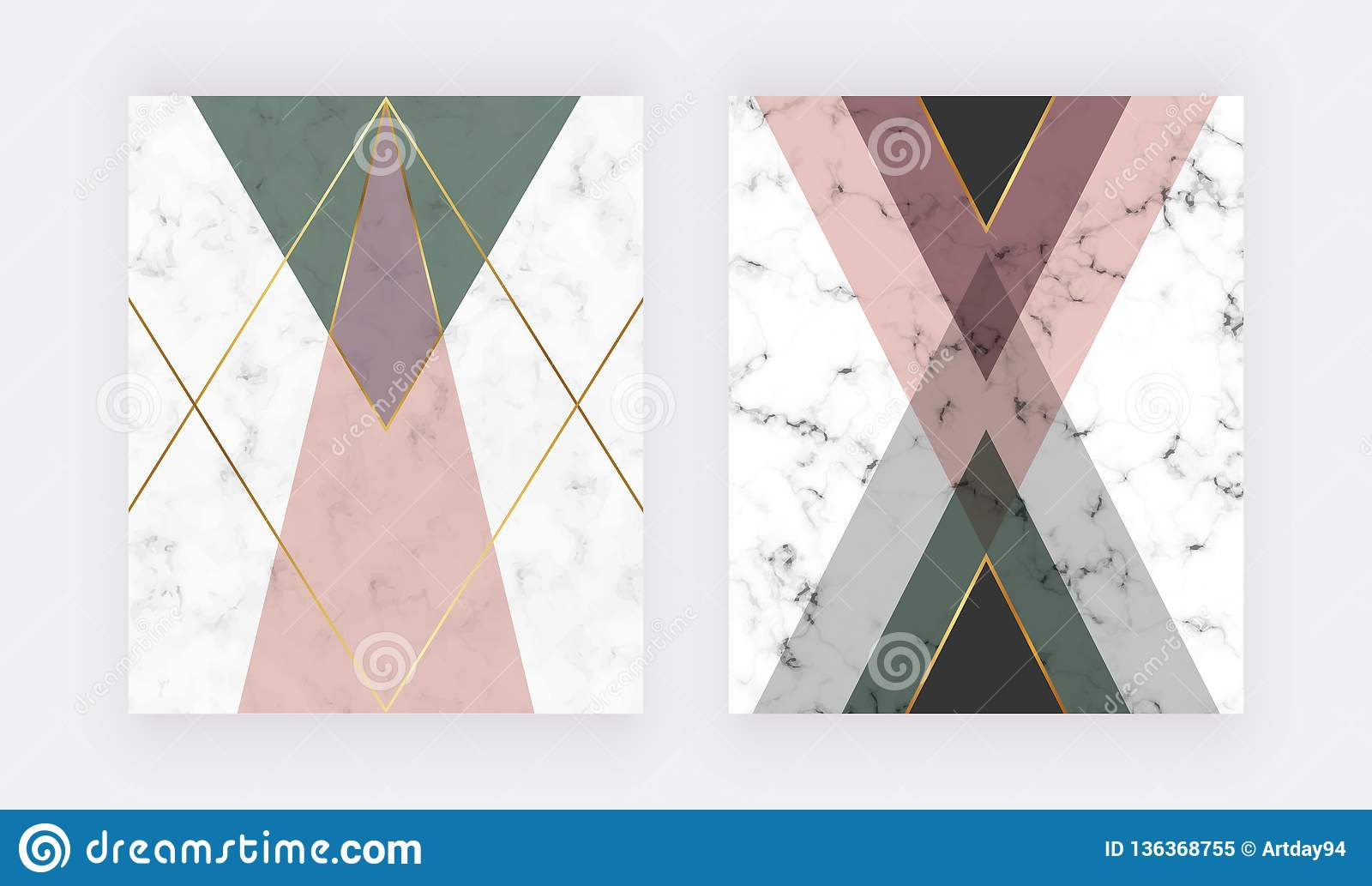Pink and green geometric design with golden lines. Fashion design for banner, flyer, poster, wedding invitation, card.