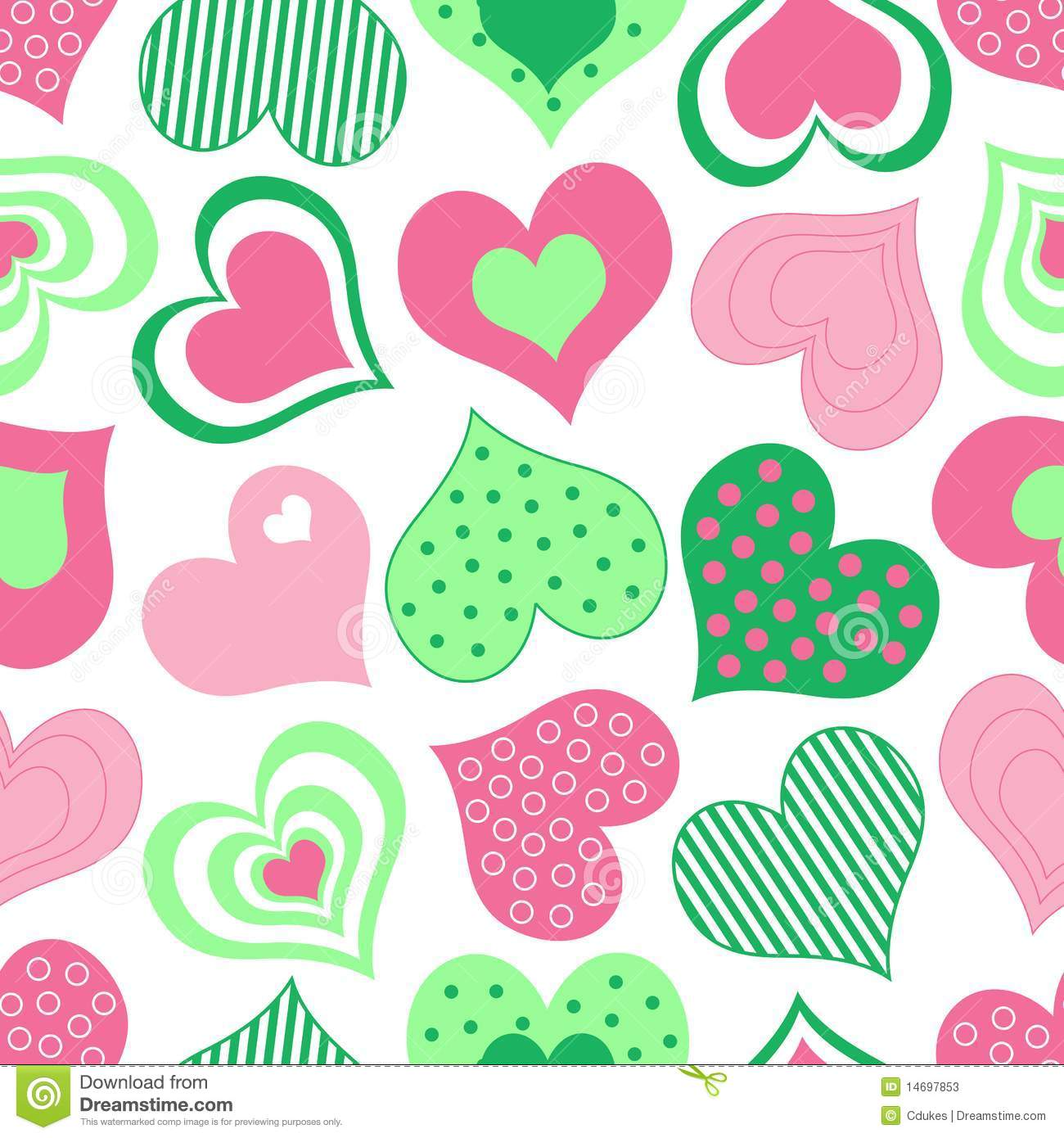 Pink And Green Hearts Pattern Stock Photos Image 14697853