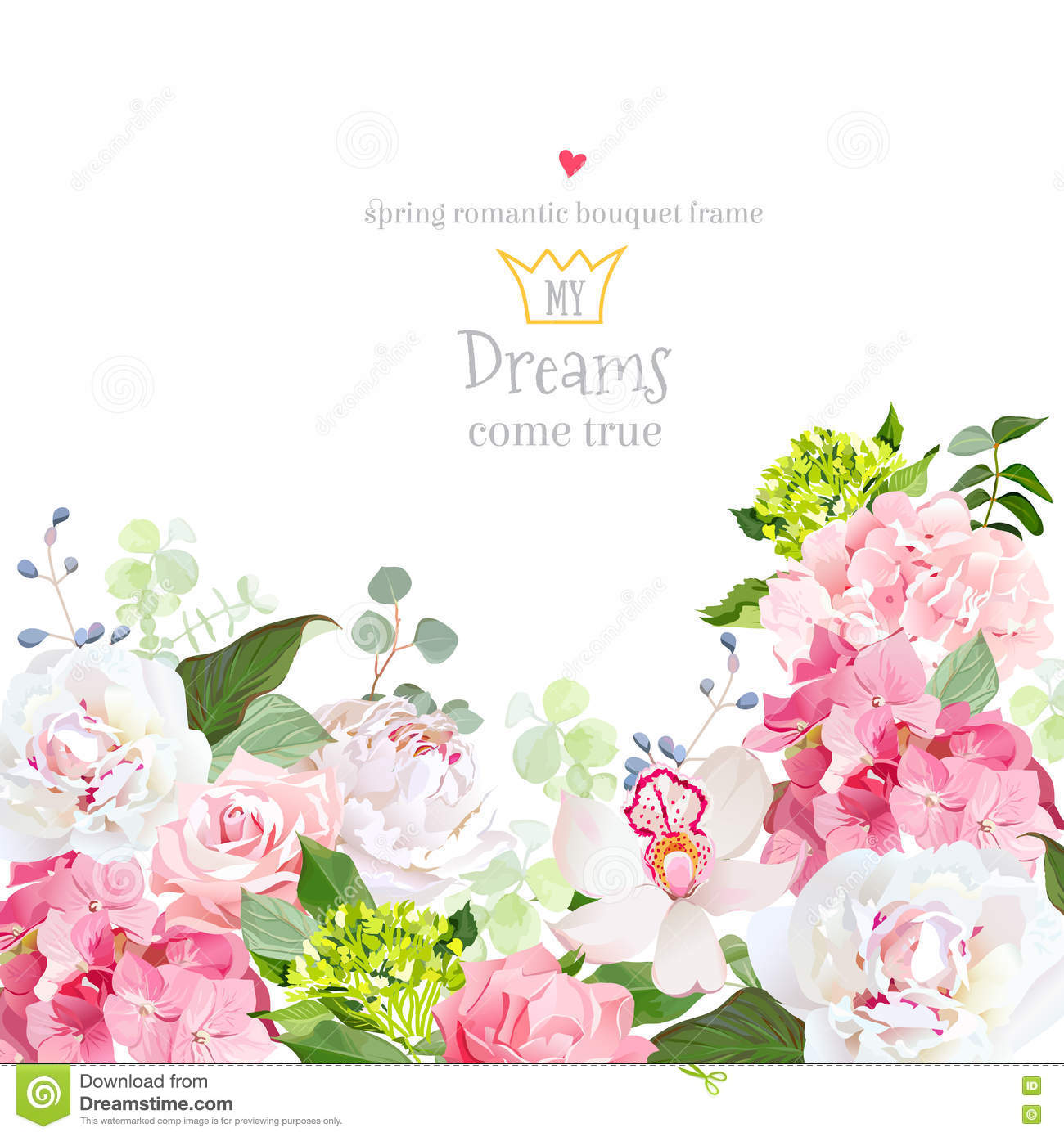 Pink And Green Hydrangea Rose White Peony Orchid Carnation