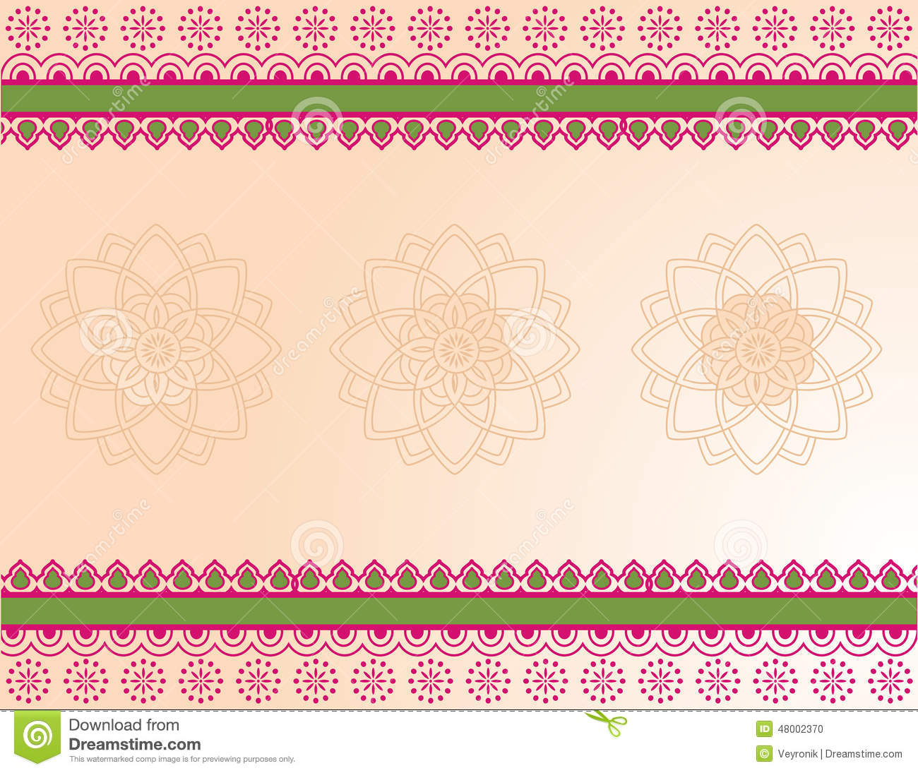 Pink And Green Indian Henna Banner Stock Vector Image