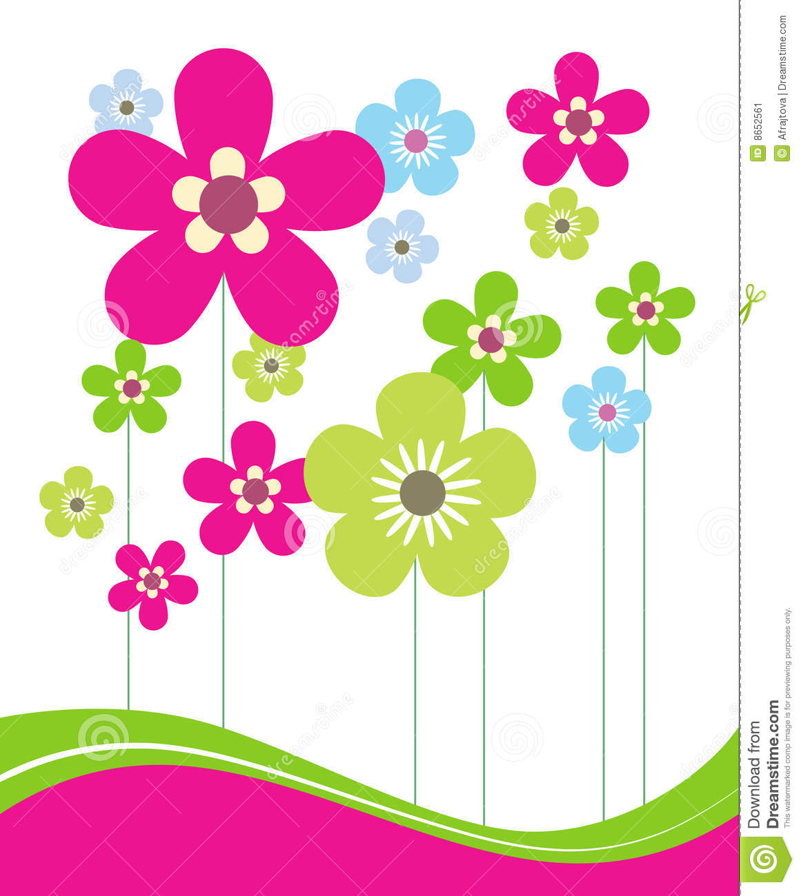Pink And Green Spring Flowers Stock Vector Illustration Of Style