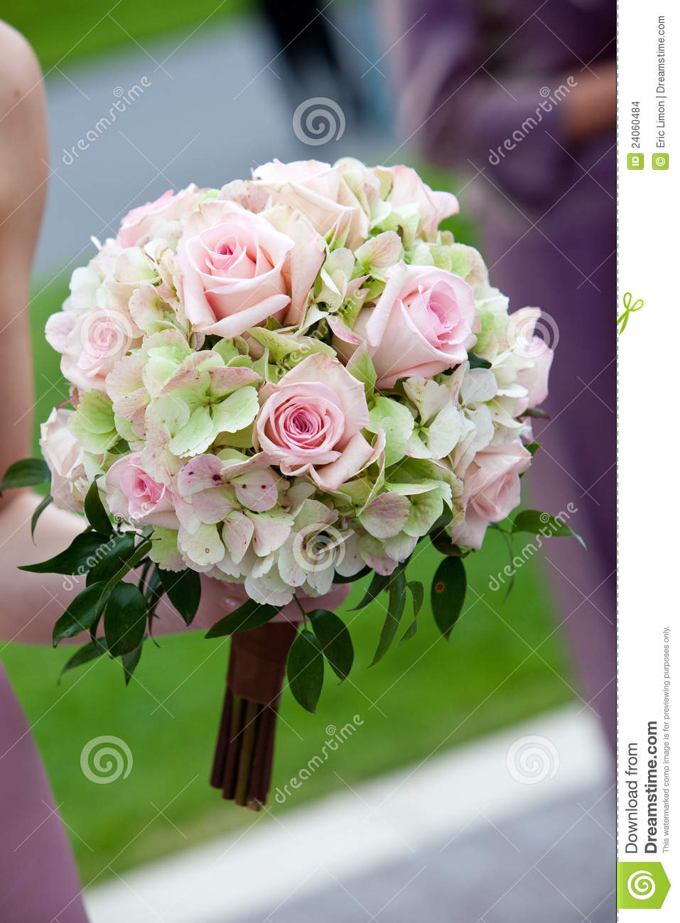 Pink And Green Wedding Bouquet Stock Photo Image Of Pink Hands