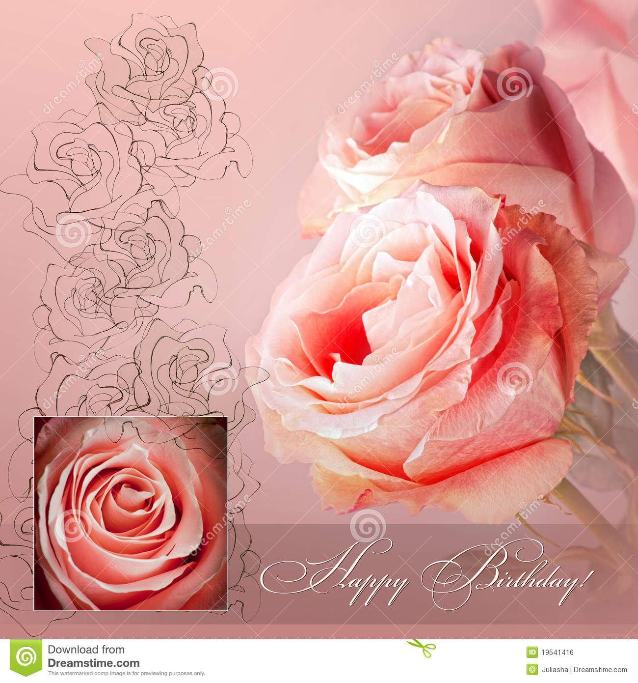 Pink Greeting Card Stock Photo Image Of Blank Flower 19541416