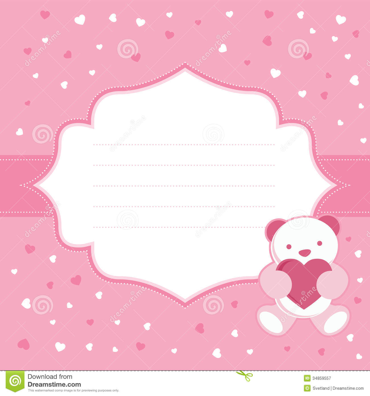 Pink Greeting Card With Teddy Bear For Baby Girl