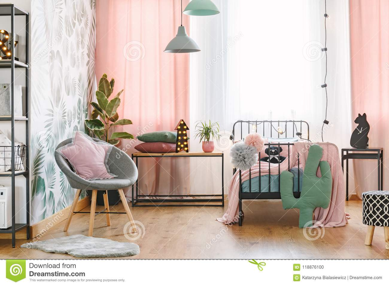 Pink And Grey Bedroom Interior Stock Photo Image Of Bedsheets Cushion 118876100