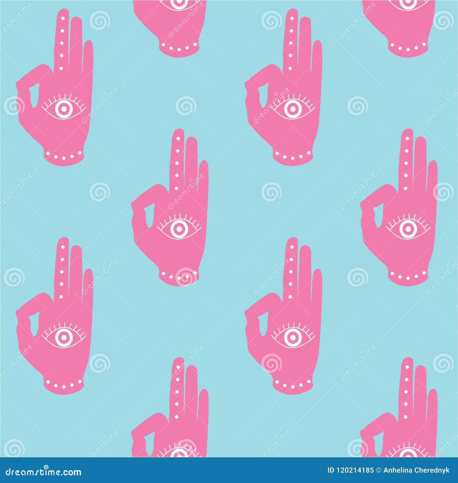 Pink Hand With Eye Mudra Buddhism Hinduism Symbol Pattern On A B