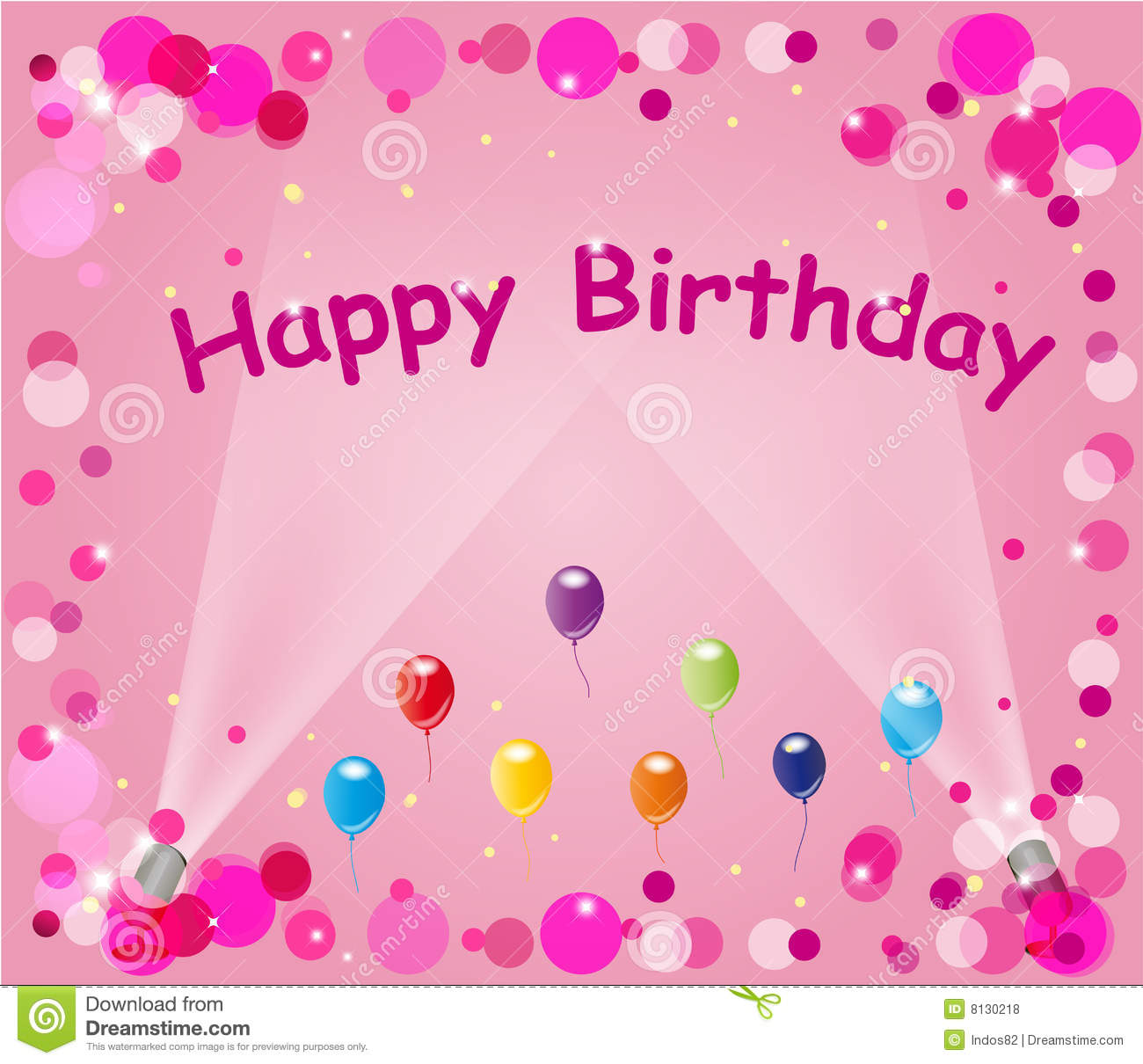 Frame Or Background Design Of Balloons Bubbles Sparkles And The Words Happy Birthday On Pink With Spotlights