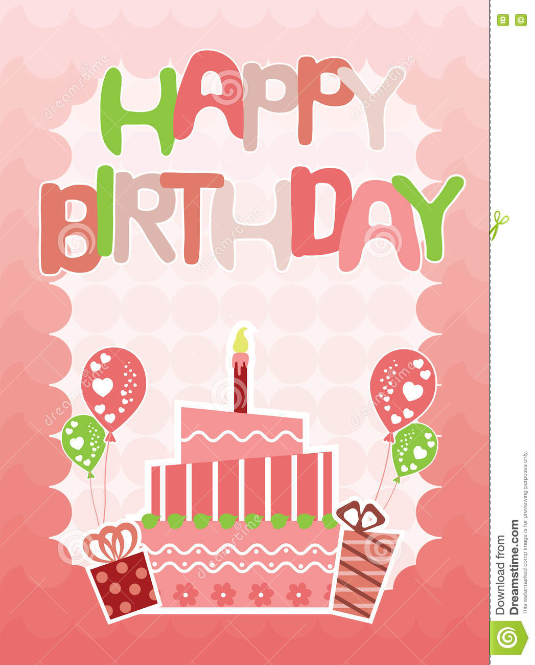 Pink Happy Birthday Card For Girls Stock Vector Illustration Of