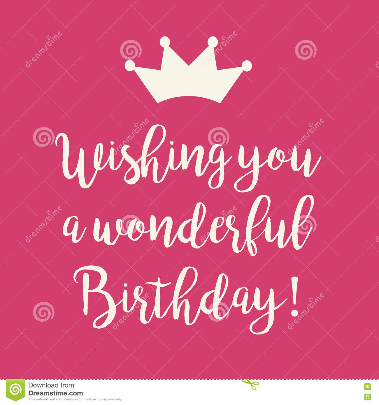 Cute Happy Birthday Card With A Text And Princess Crown On Pink Background