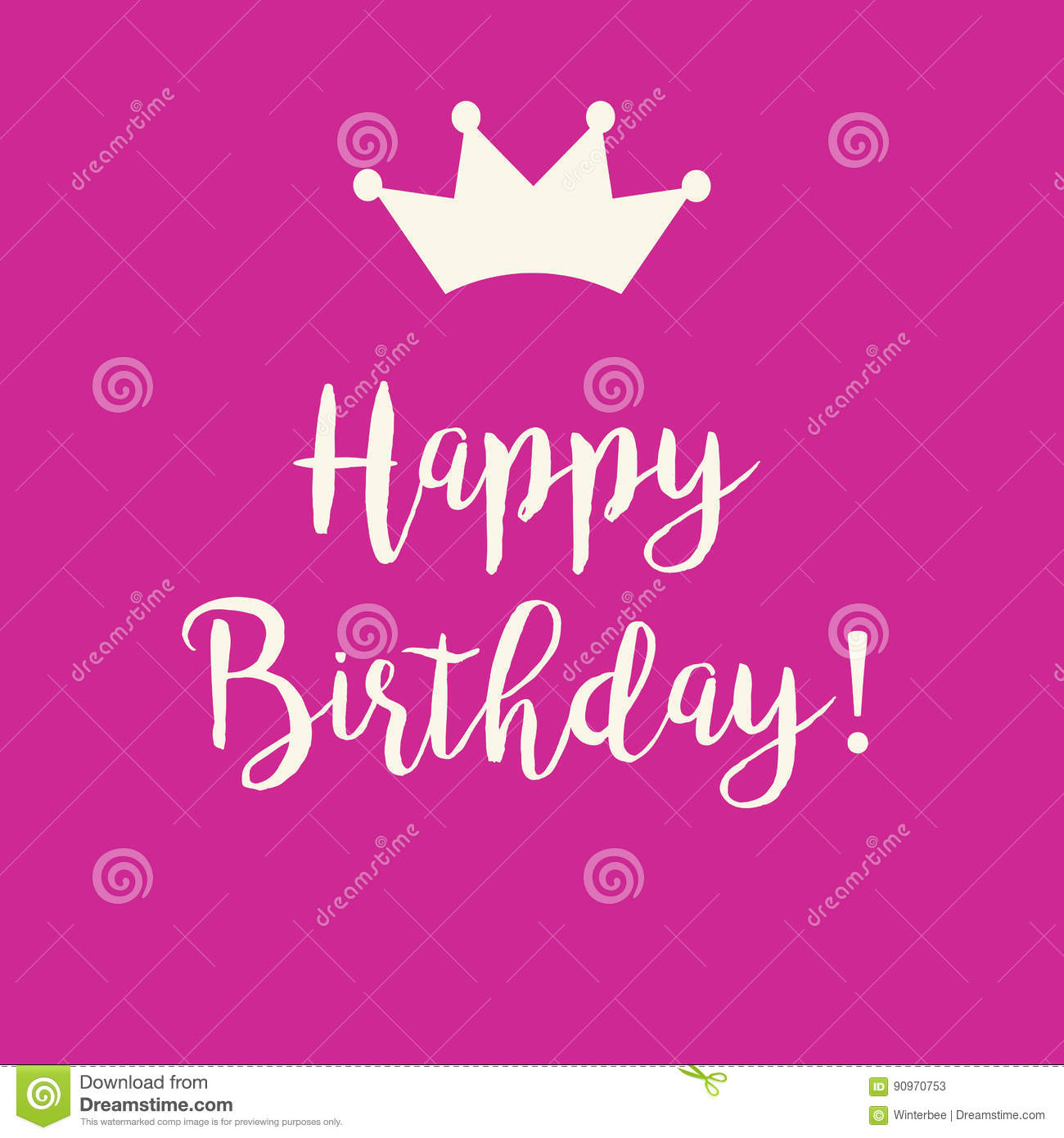 Pink Happy Birthday Greeting Card With A Crown Stock