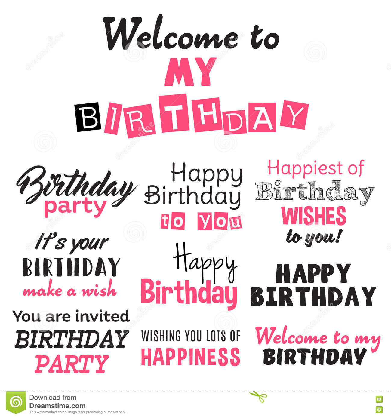 Happy Birthday Illustration Font ~ Pink happy birthday typography text isolated on white background stock vector image