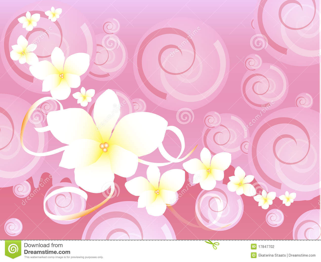 Pink hawaiian fancy background with spirals and exotic white flowers