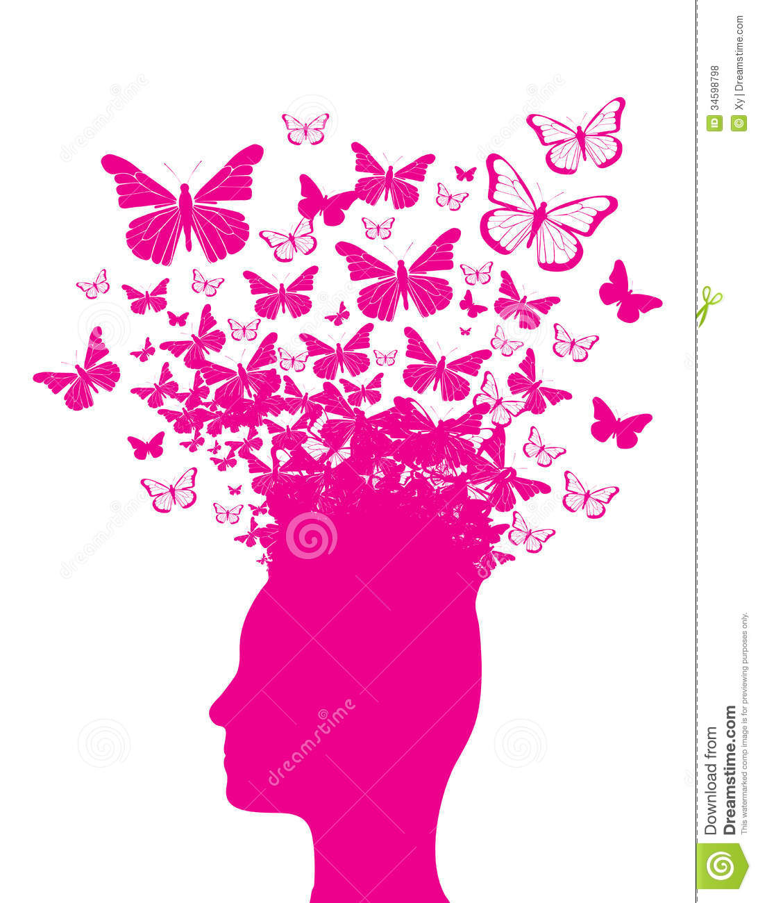 Pink Head Silhouette And Butterflies Royalty Free Stock Photos - Image ...