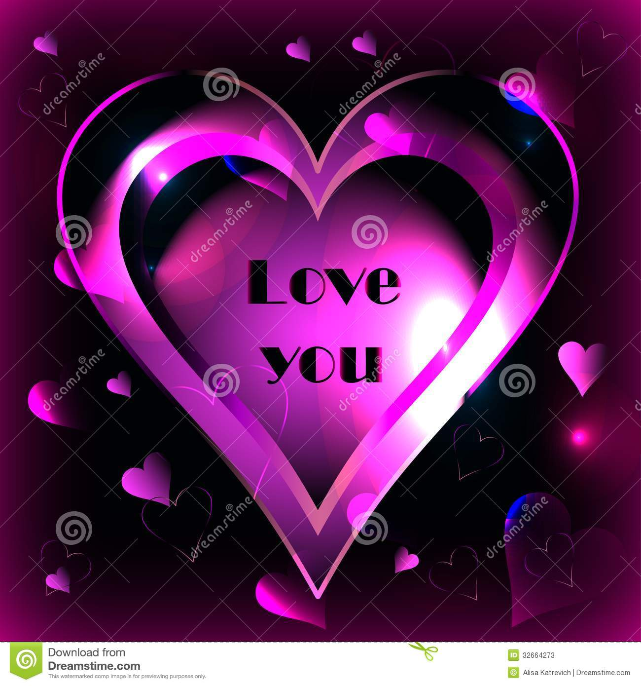 Pink Heart On A Black Background Vector