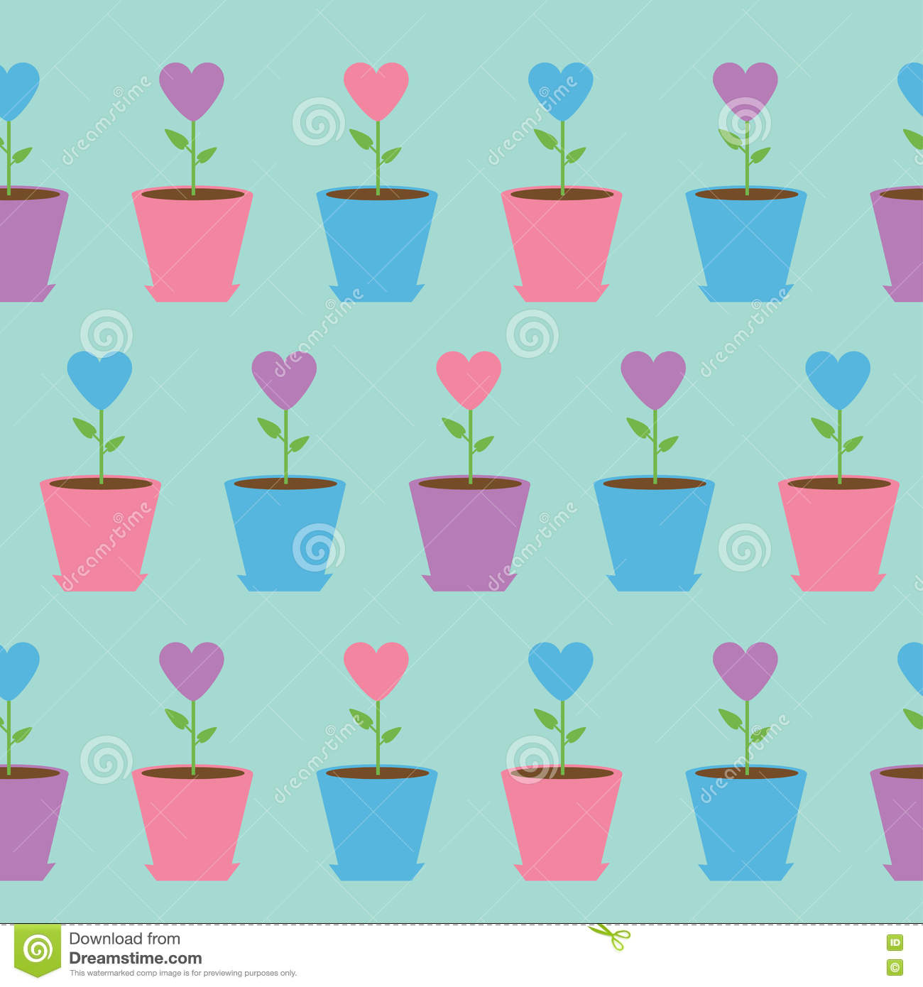 pink heart flower in pot seamless pattern wrapping paper textile