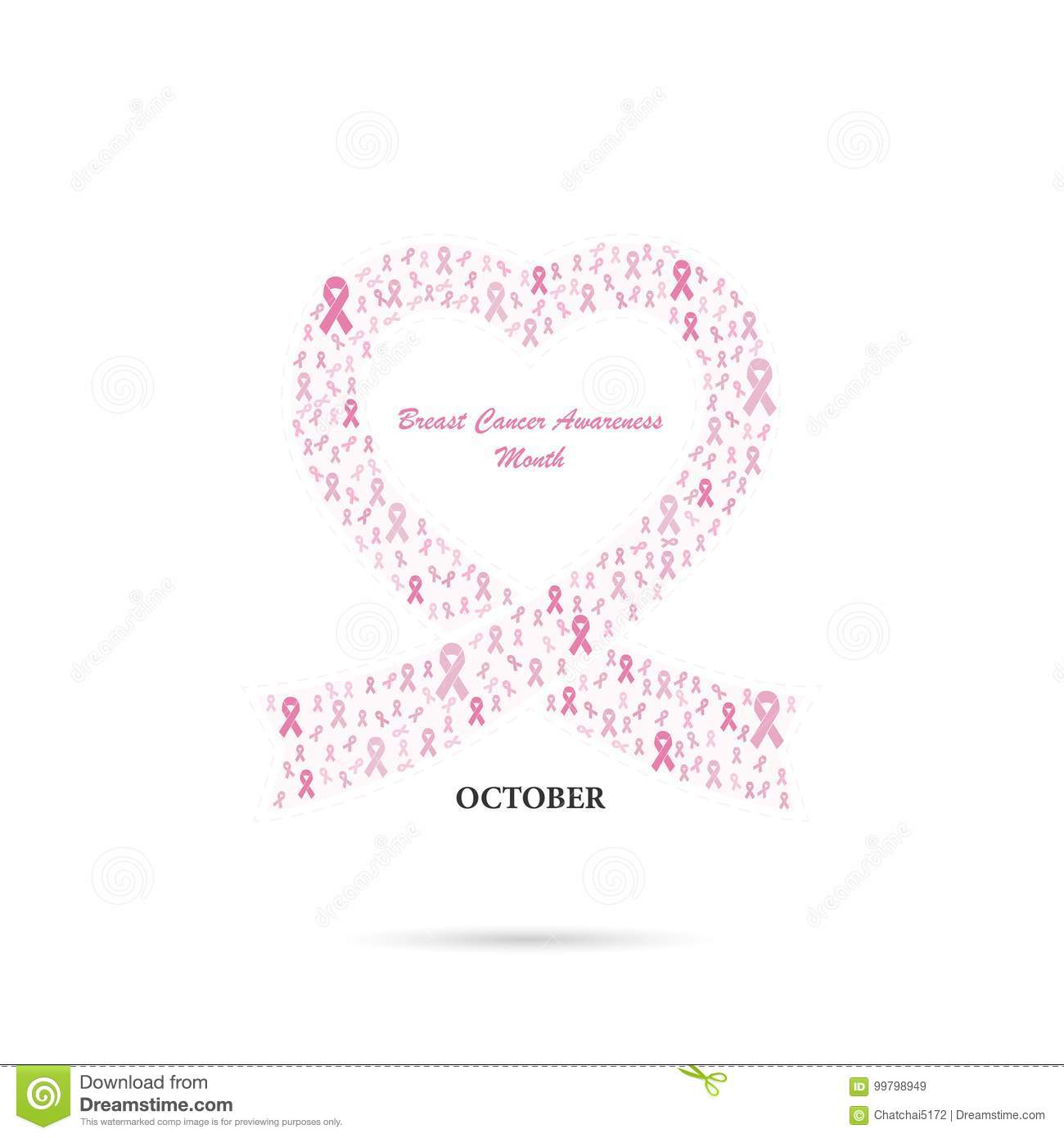 Pink heart ribbon sign.Breast Cancer October Awareness Month Cam