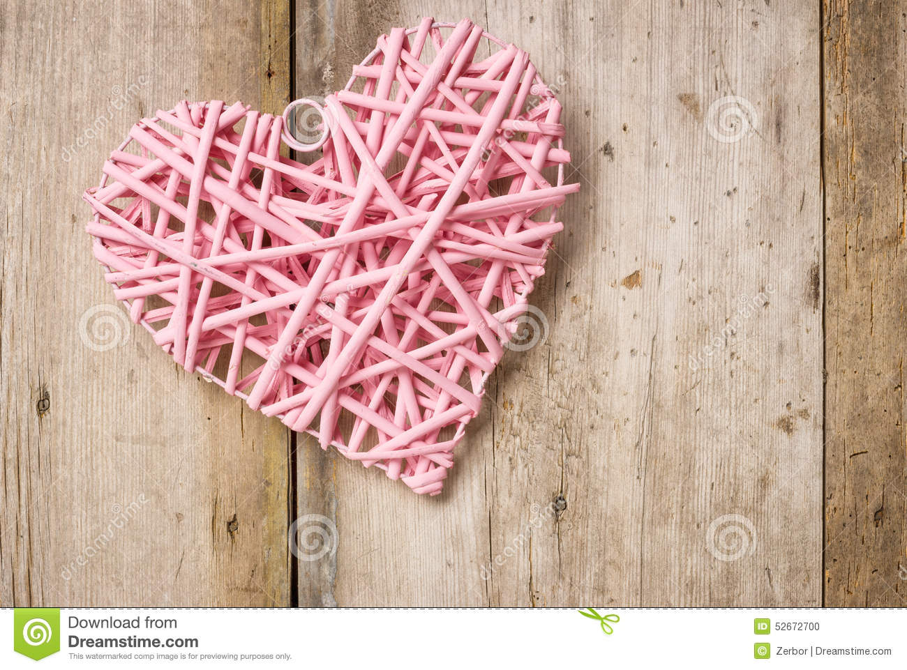 Pink Heart On A Rustic Background