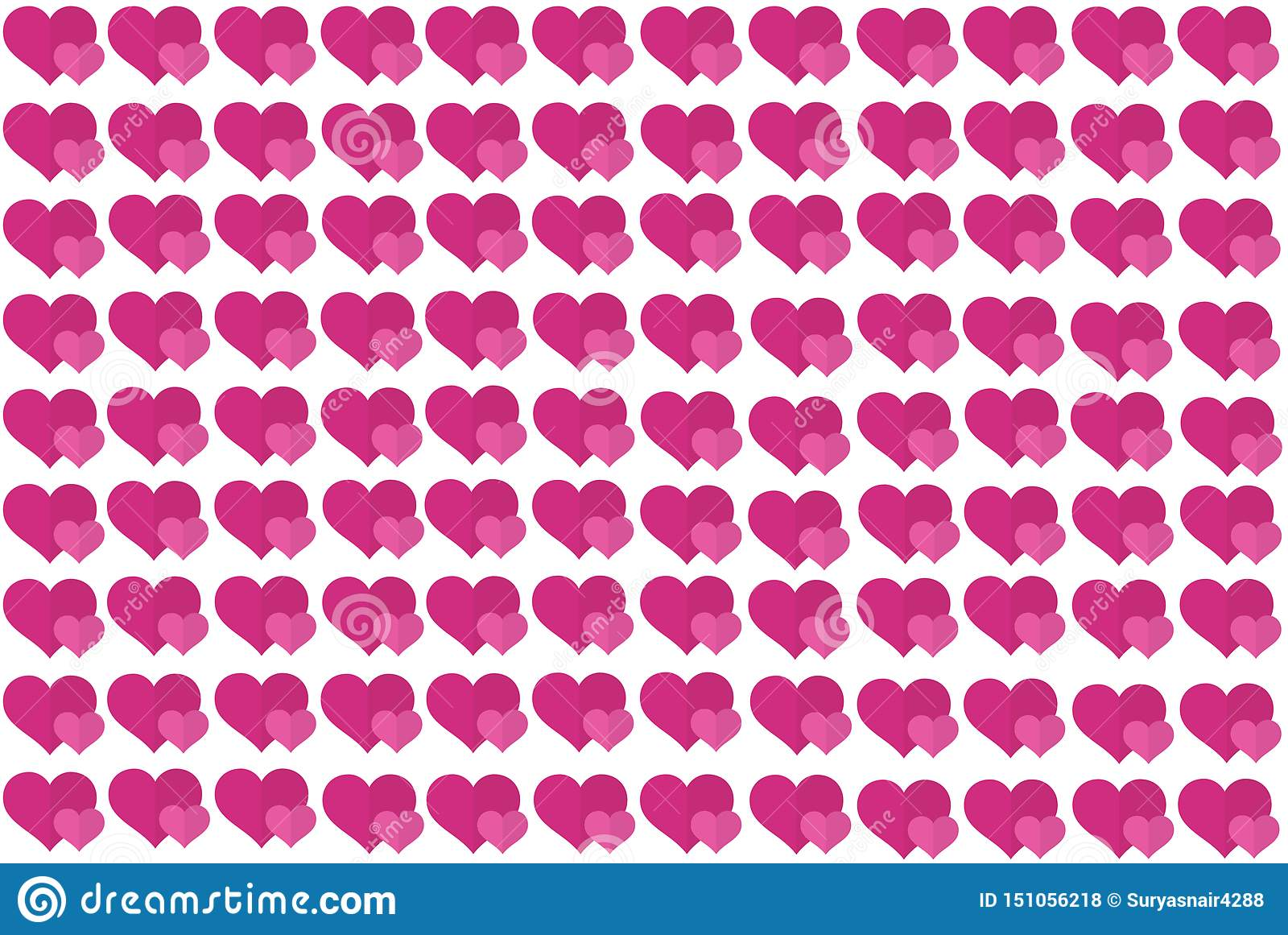 Pink Heart Shape on White Background. Hearts Dot Design. Can be used for Articles, Printing, Illustration purpose, background,
