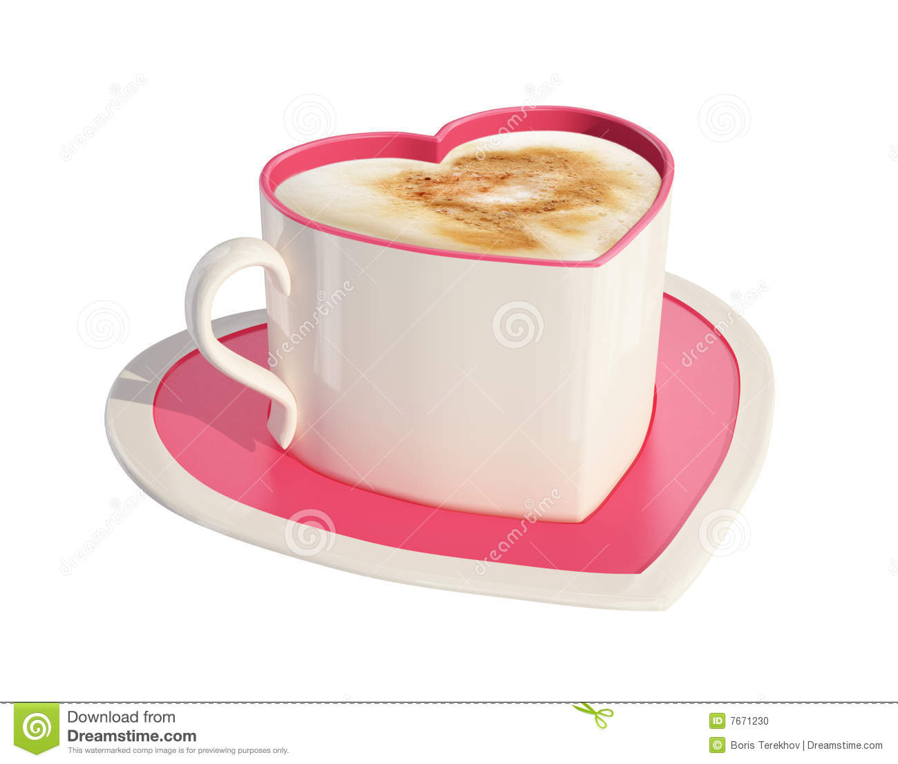 Pink Heart Shaped Coffee Cup With Saucer Stock Photo