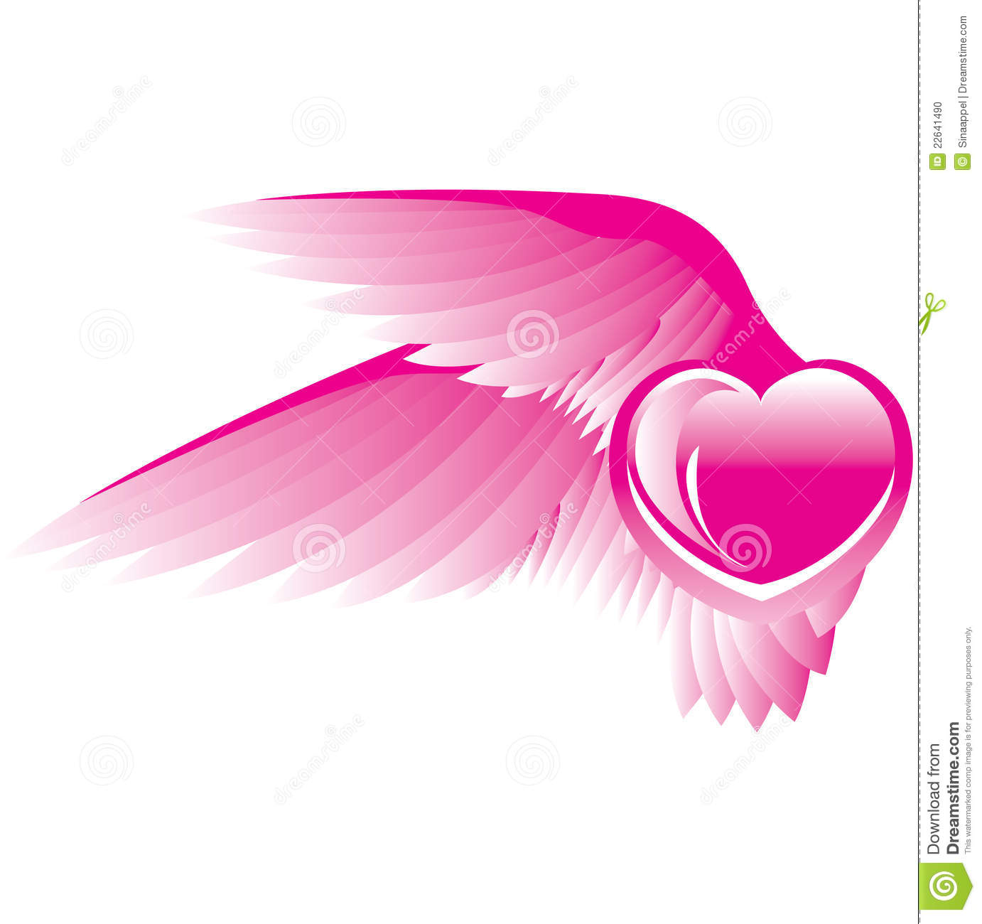 Pink Heart With Wings Stock Vector Image Of Composition