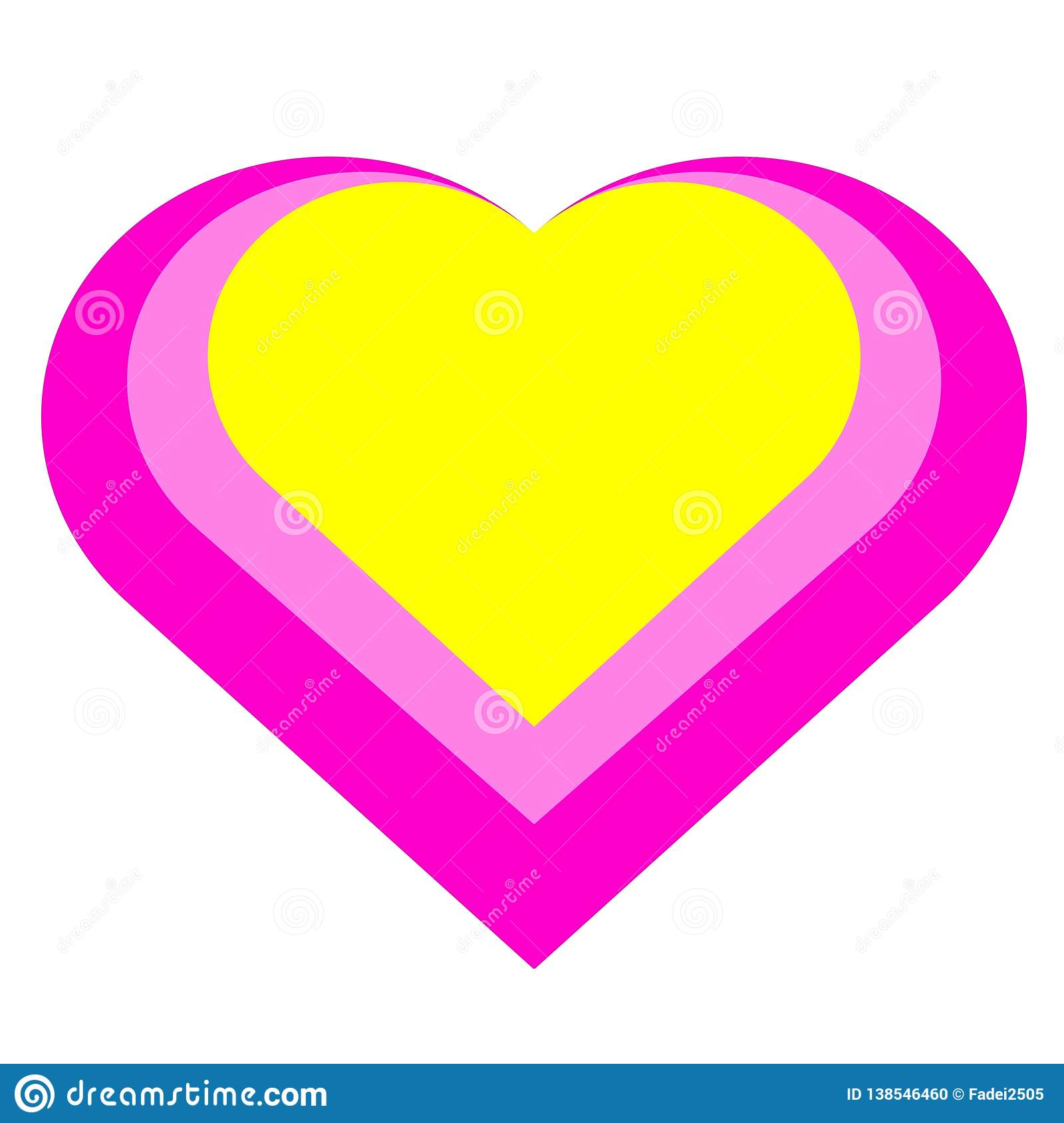 Pink heart with yellow color.