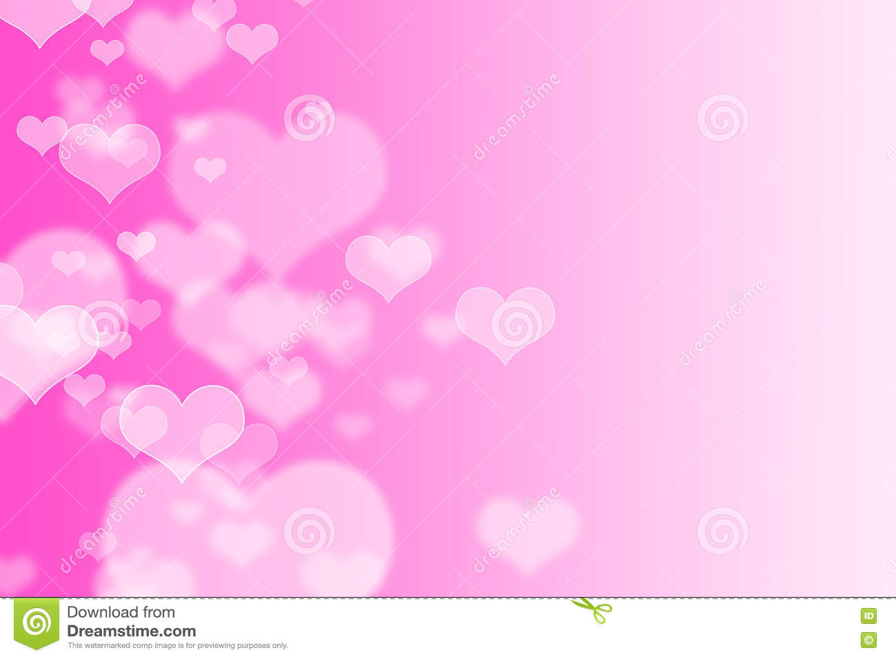 Pink hearts bokeh as background