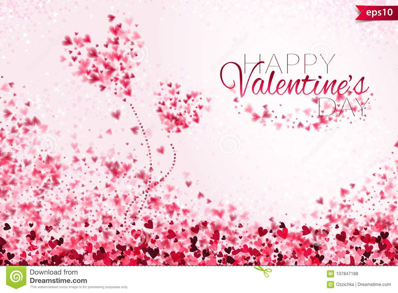 Pink hearts bokeh light Valentine`s day background eps 10. Tender backdrop with colorful hearts. Romantic colorful