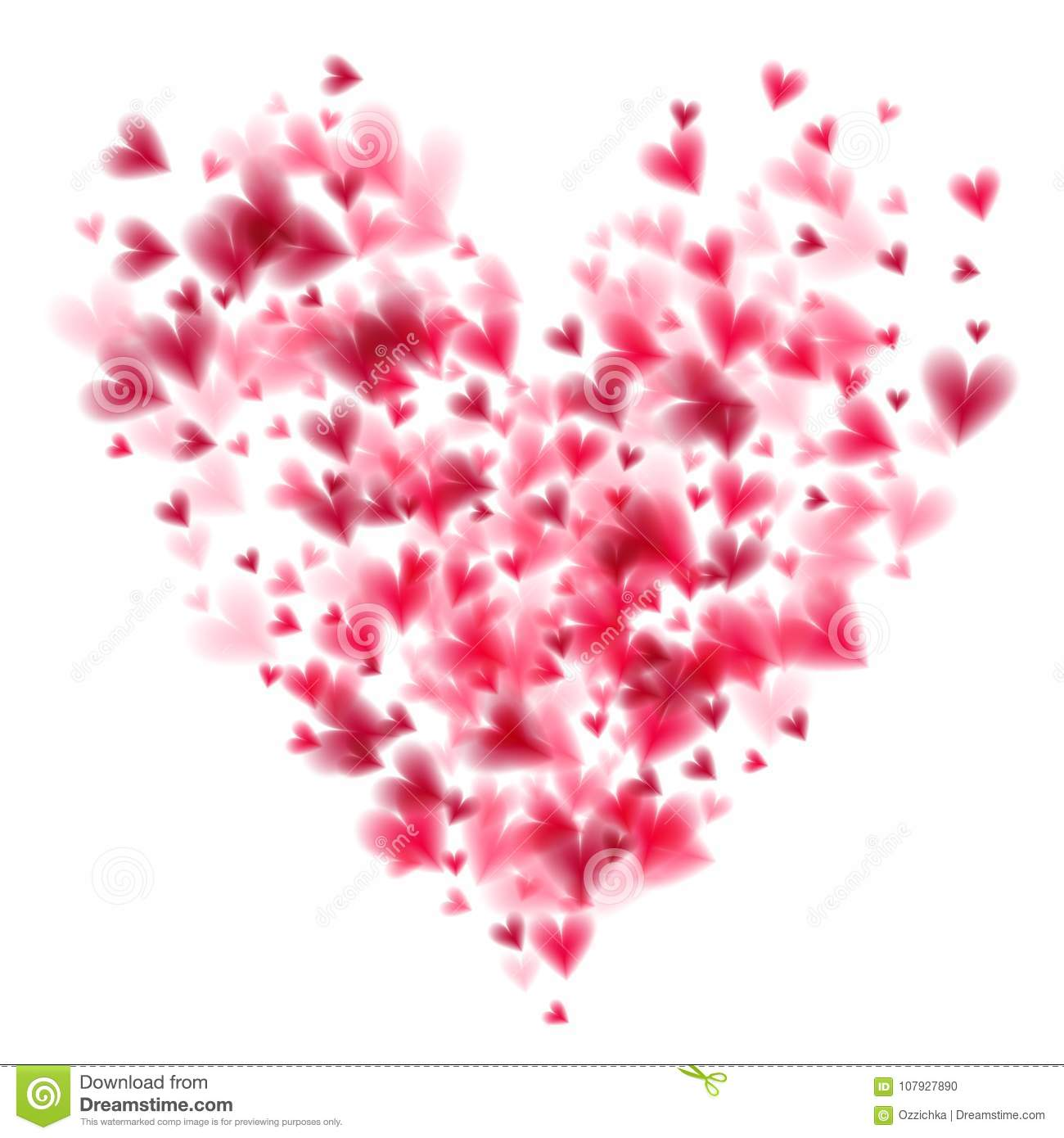 Pink hearts bokeh light Valentine`s day background with large heart shape eps 10. Tender backdrop with gradually