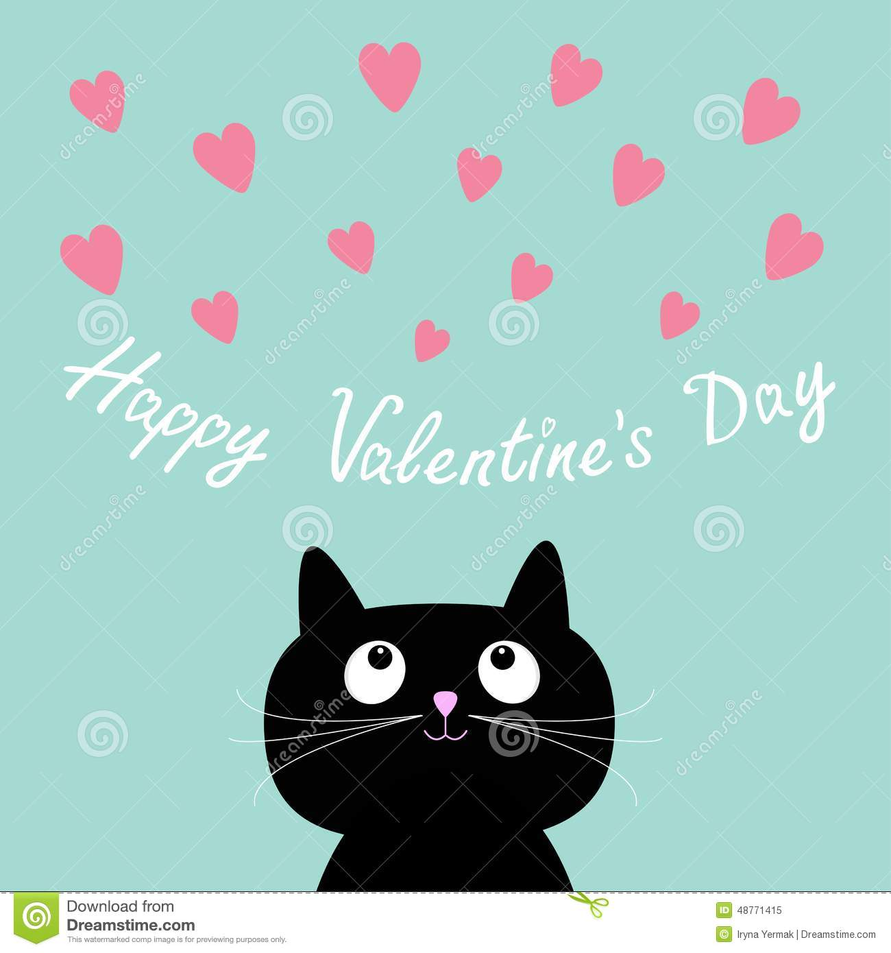 Pink Hearts And Cute Cartoon Cat Flat Design Style Happy