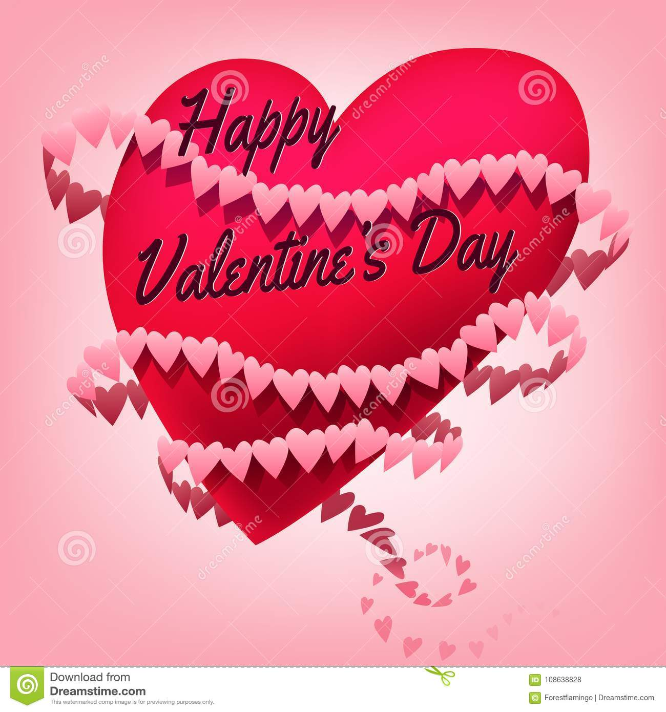 Pink Hearts Floating Happy Valentines Day Greeting Card Stock