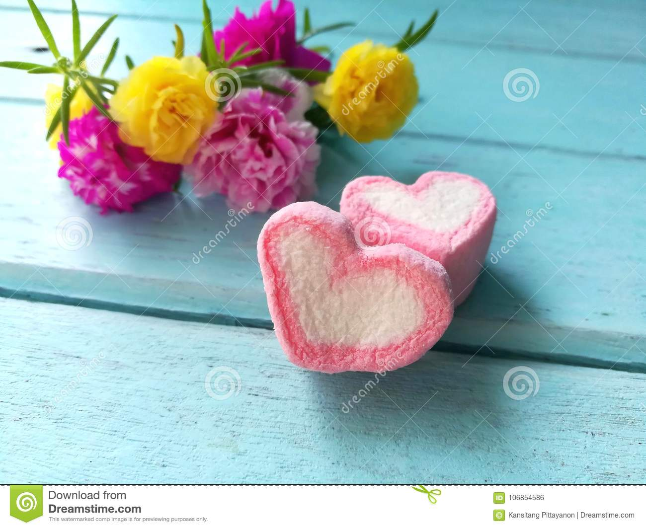 pink hearts flowers beautiful bouquet blue wooden background 106854586