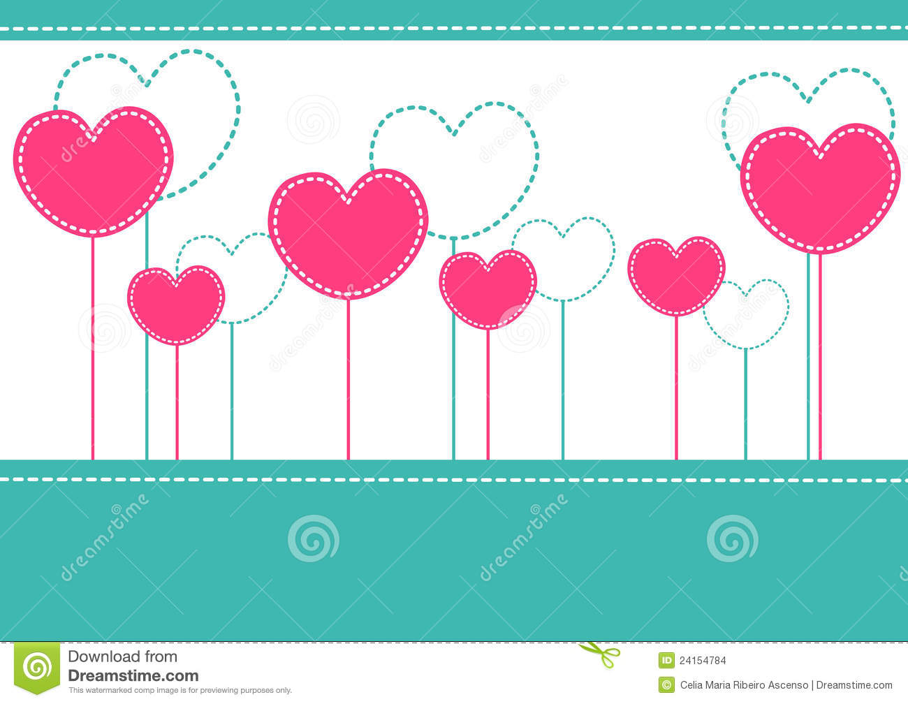 Pink hearts invitation card