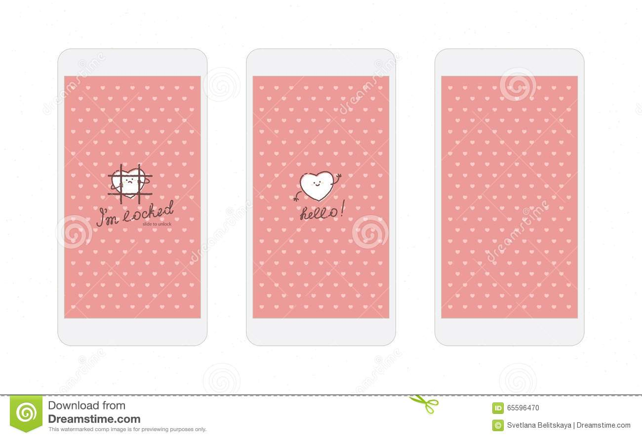Pink Hearts Iphone Wallpaper And Lock Screen Stock Vector