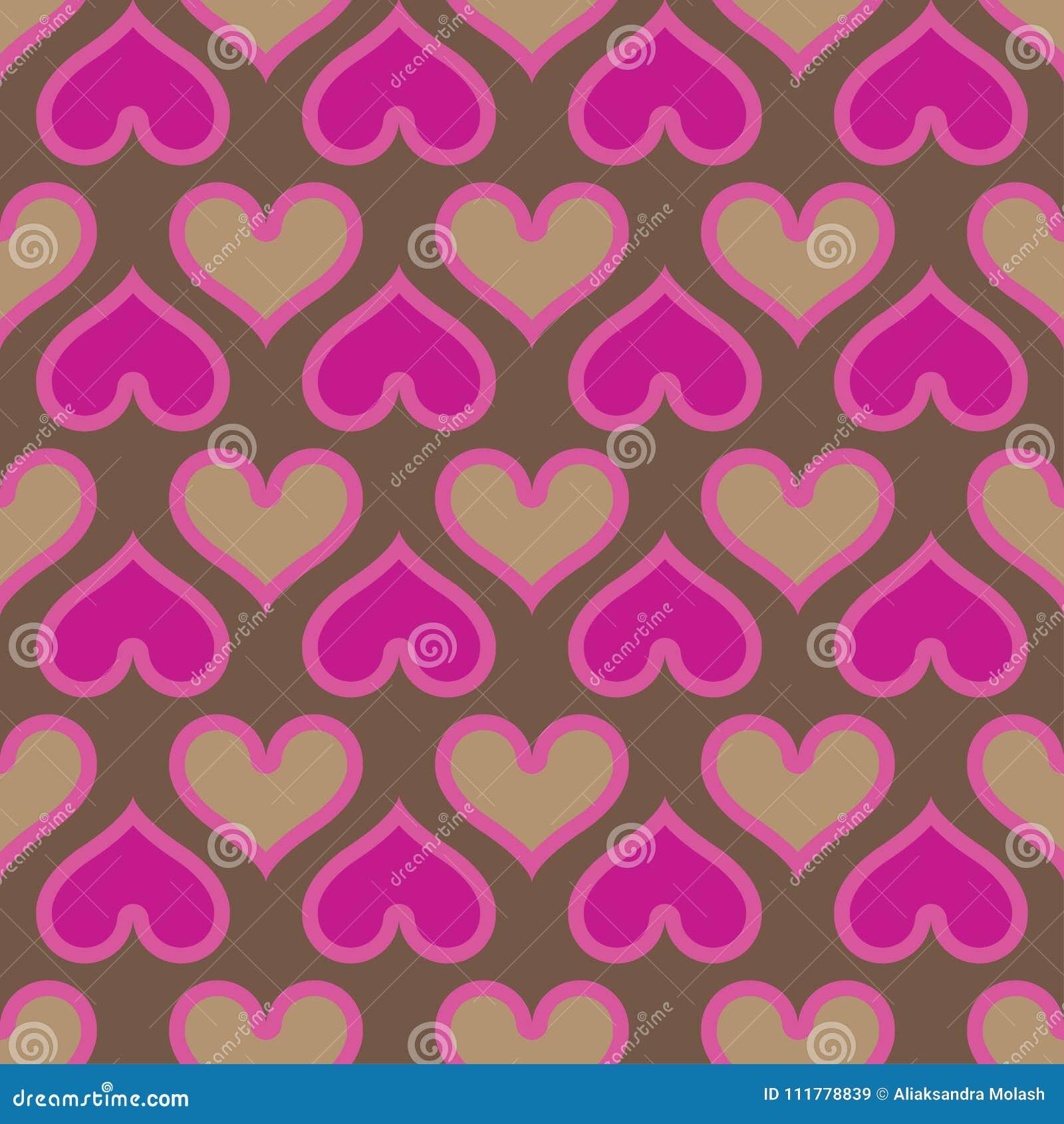 Pink hearts seamless background pattern