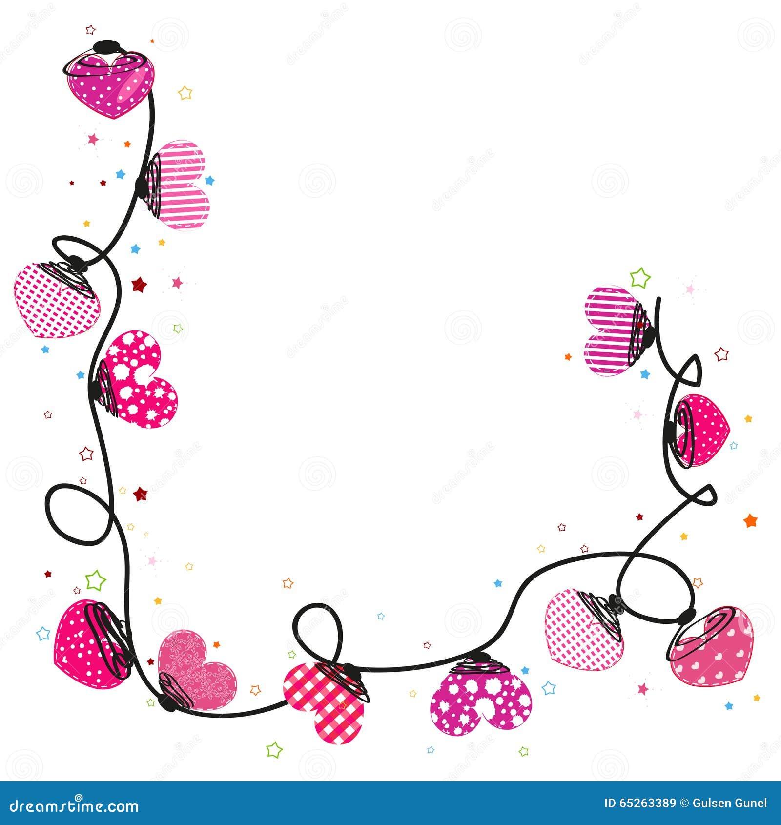 pink heart border vector cartoon vector cartoondealer