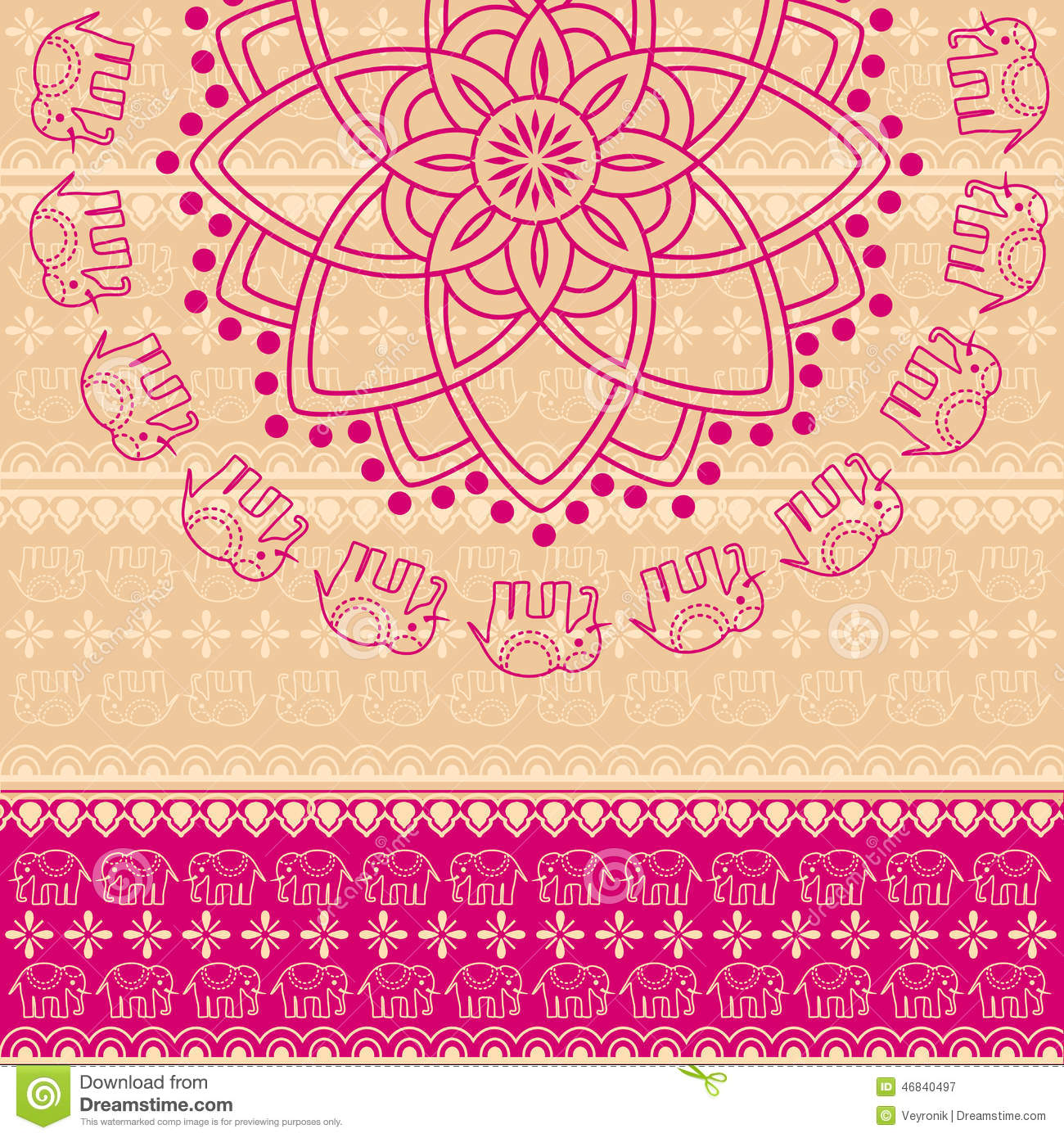 Pink Henna Elephant Mandala Background Illustration 46840497 Megapixl