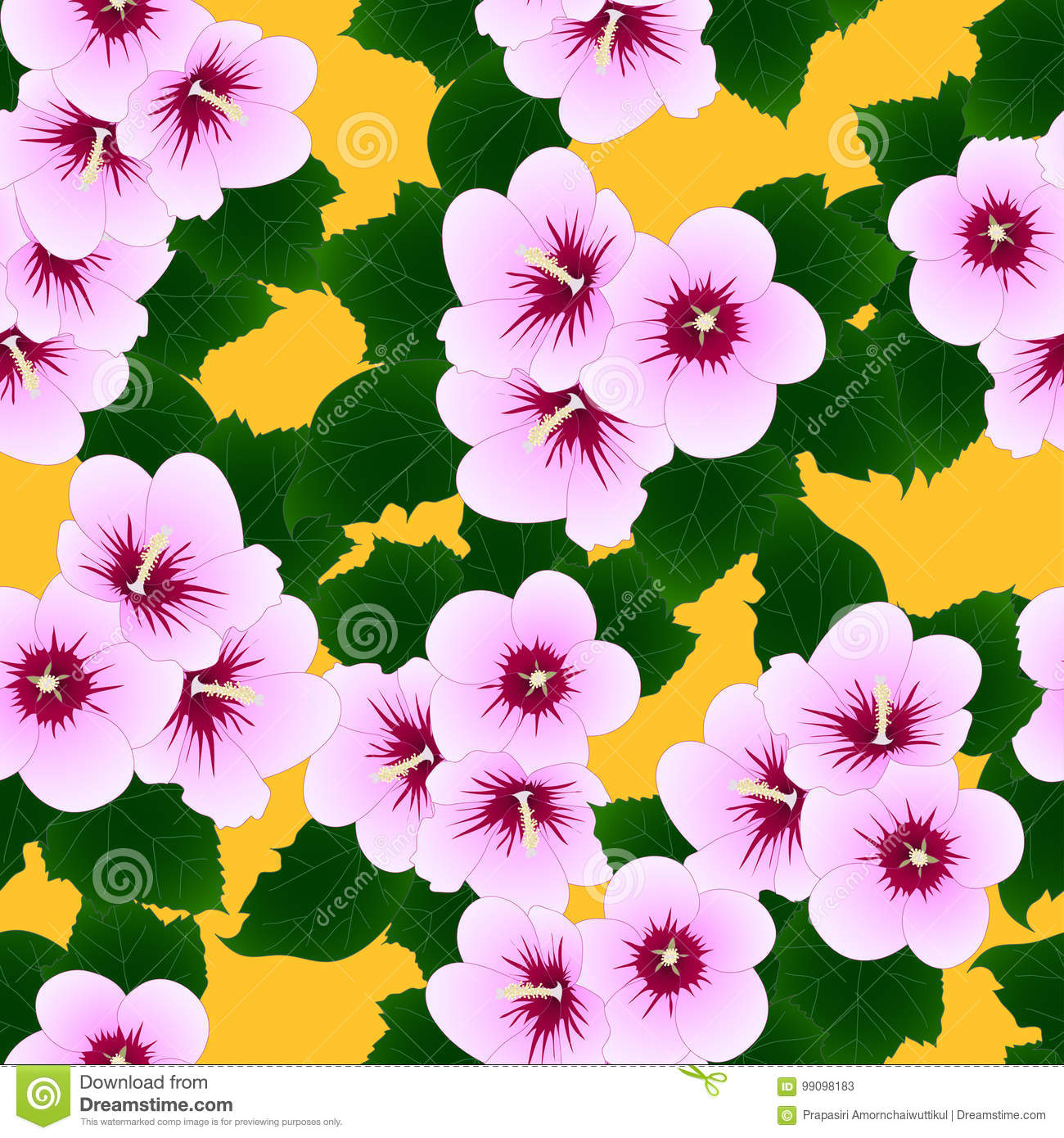 Pink Hibiscus Syriacus Rose Of Sharon On Yellow Background Vector