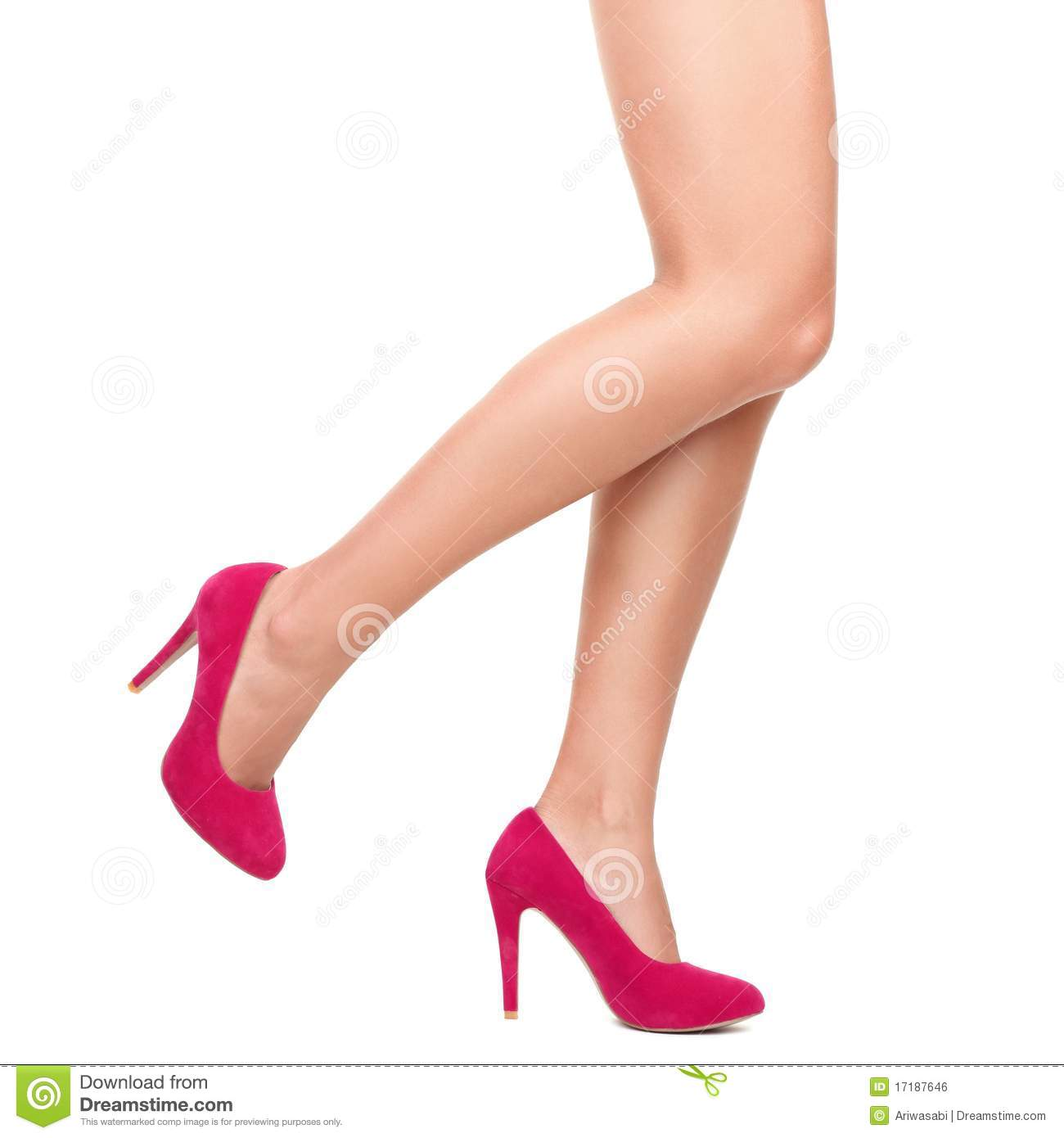 Pink high heels and legs