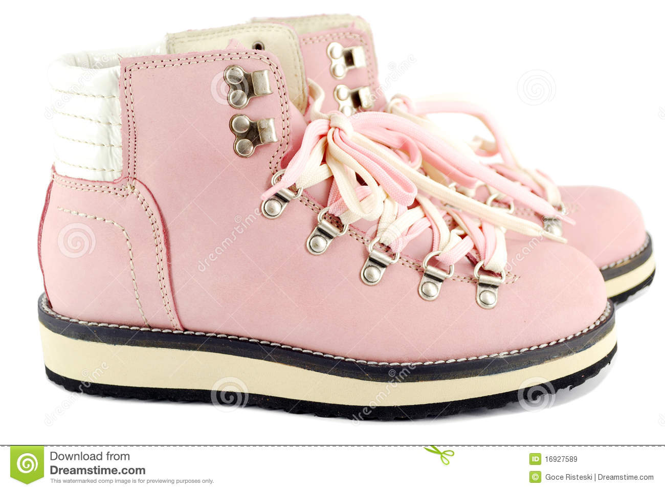 Pink hiking boots